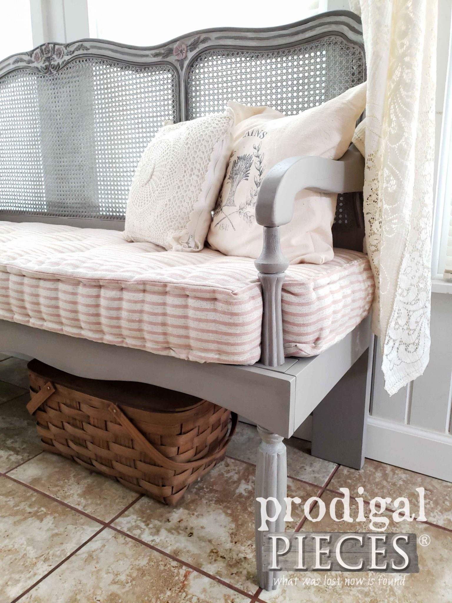 Handmade French Mattress on Custom Built French Provincial Headboard Bench by Larissa of Prodigal Pieces | prodigalpieces.com