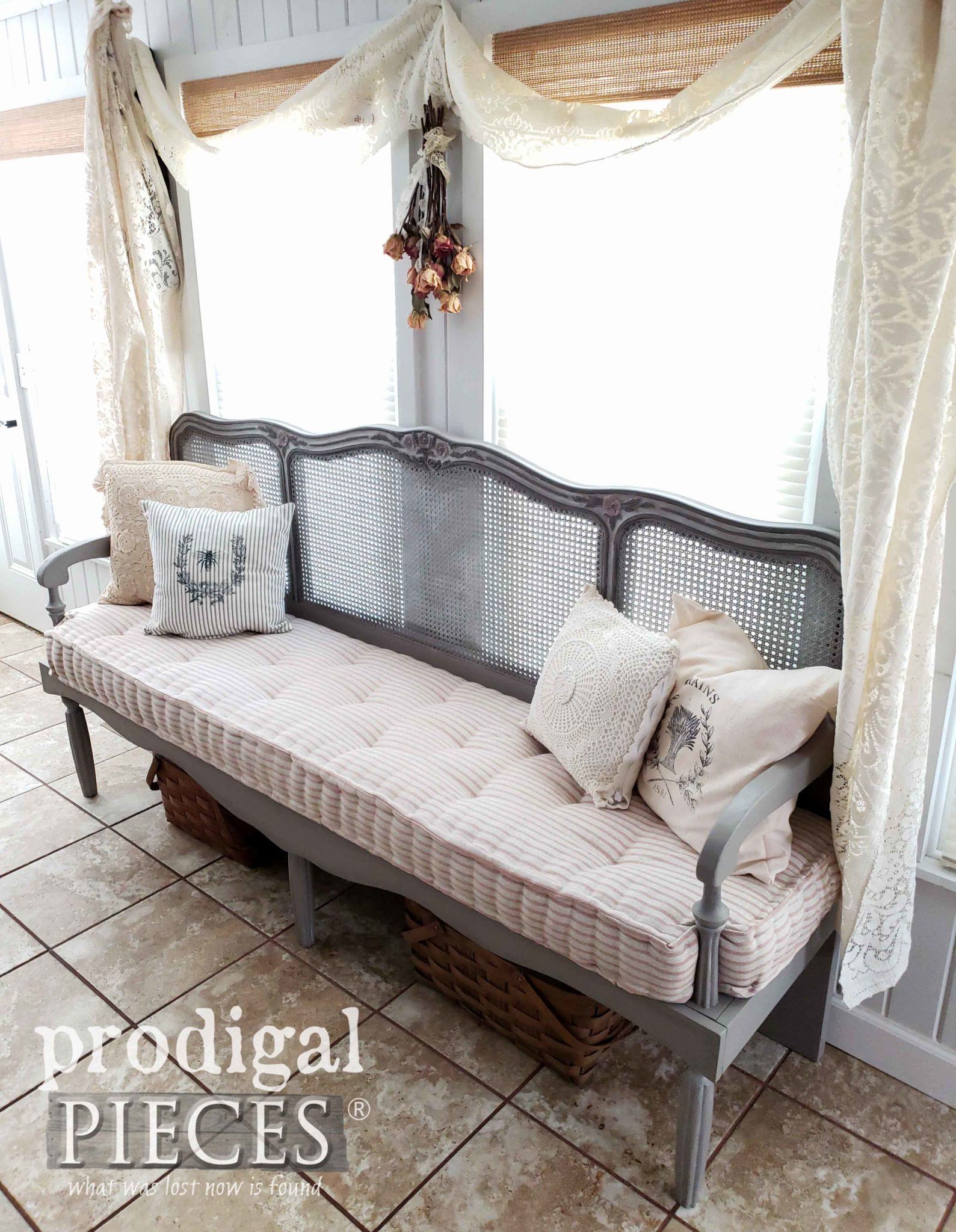 French Provincial Headboard Bench with Mattress Handmade by Larissa of Prodigal Pieces | prodigalpieces.com