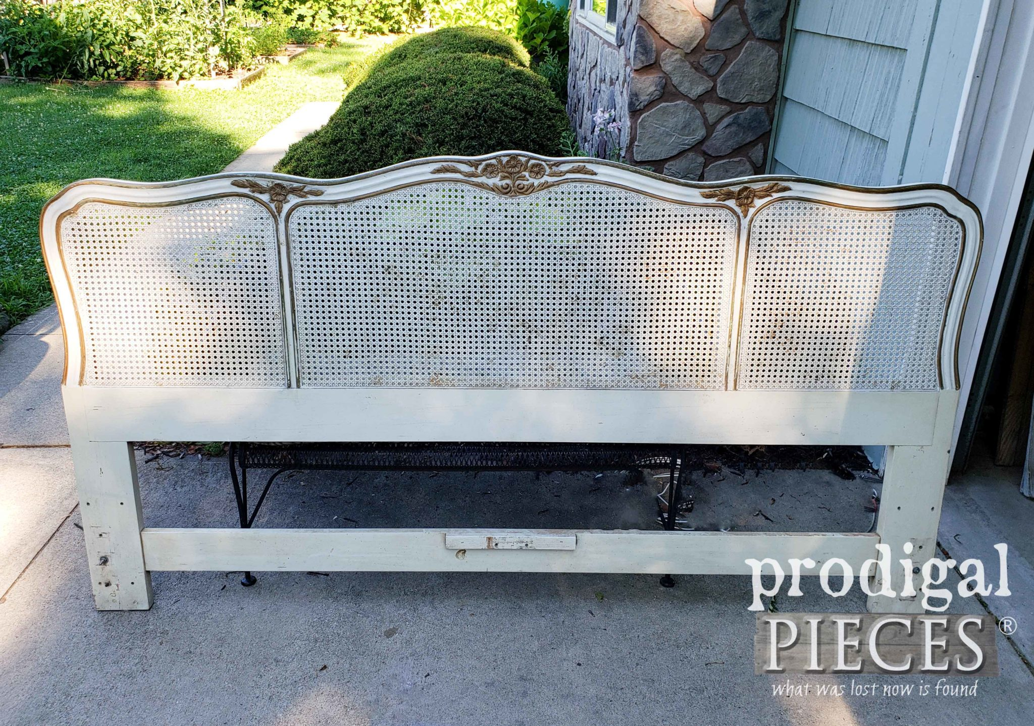 Vintage French Provincial Headboard Before Makeover by Prodigal Pieces | prodigalpieces.com