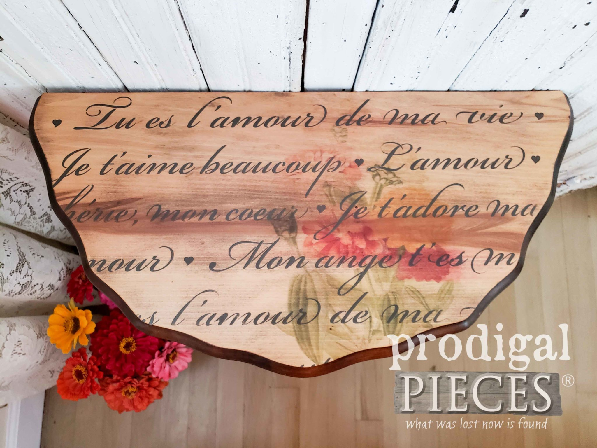 French Stenciled Table Top with Zinnia Image Transfer by Prodigal Pieces | prodigalpieces.com
