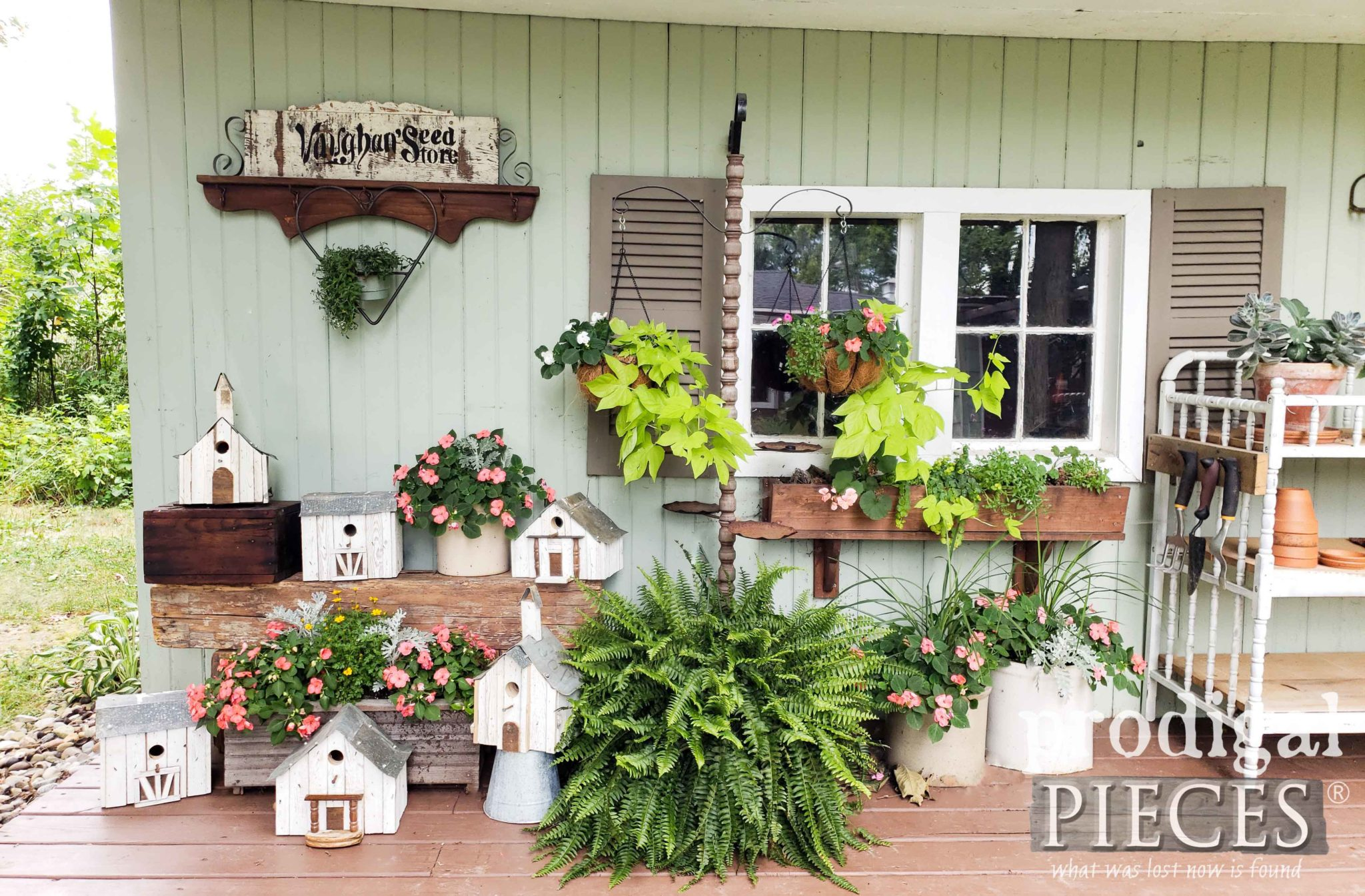 Garden Shed Display of Salvaged Junk Birdhouses Handmade by Larissa of Prodigal Pieces | prodigalpieces.com