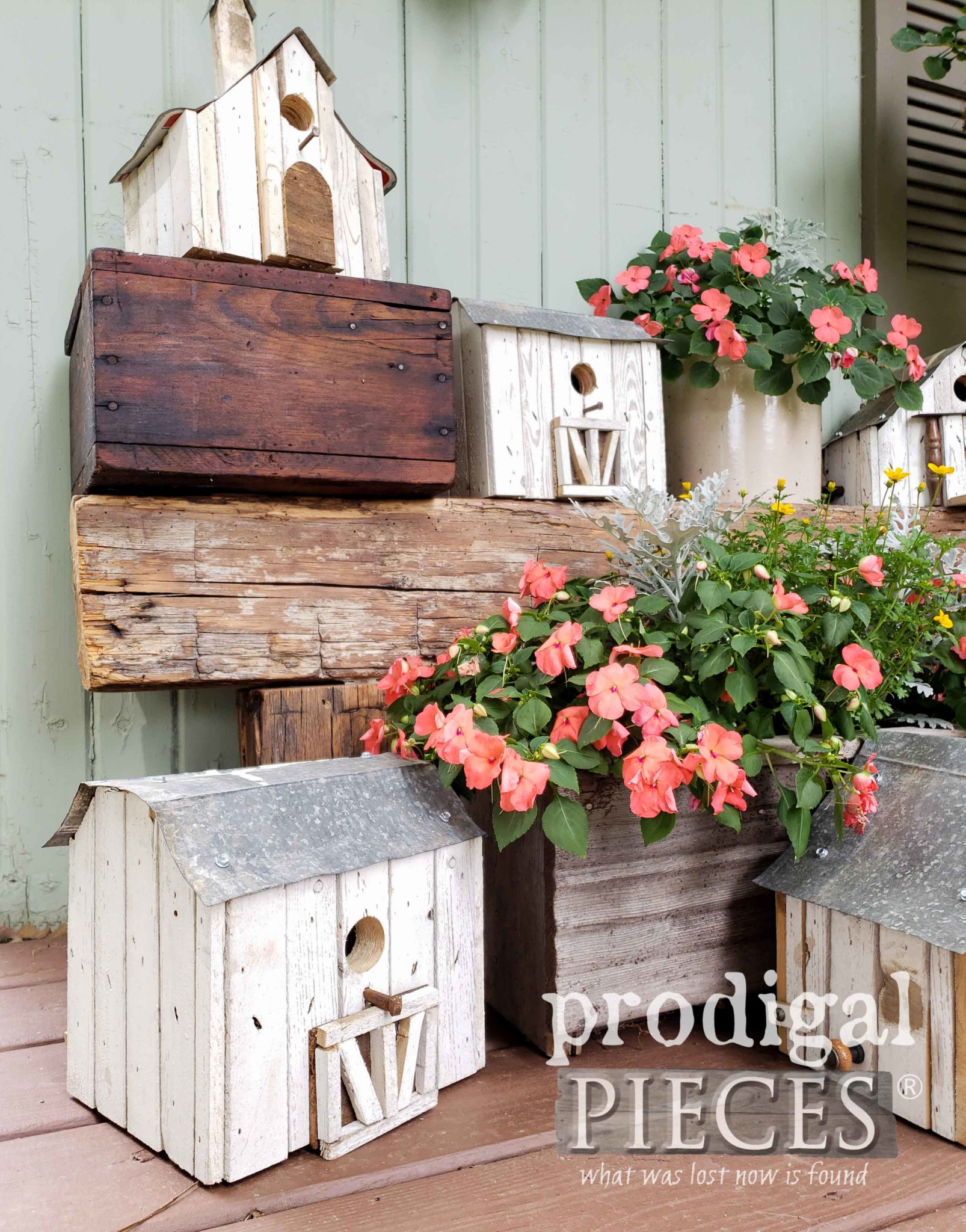 Handmade Farmhouse Barn Birdhouse from Reclaimed Part by Larissa of Prodigal Pieces | prodigalpieces.com