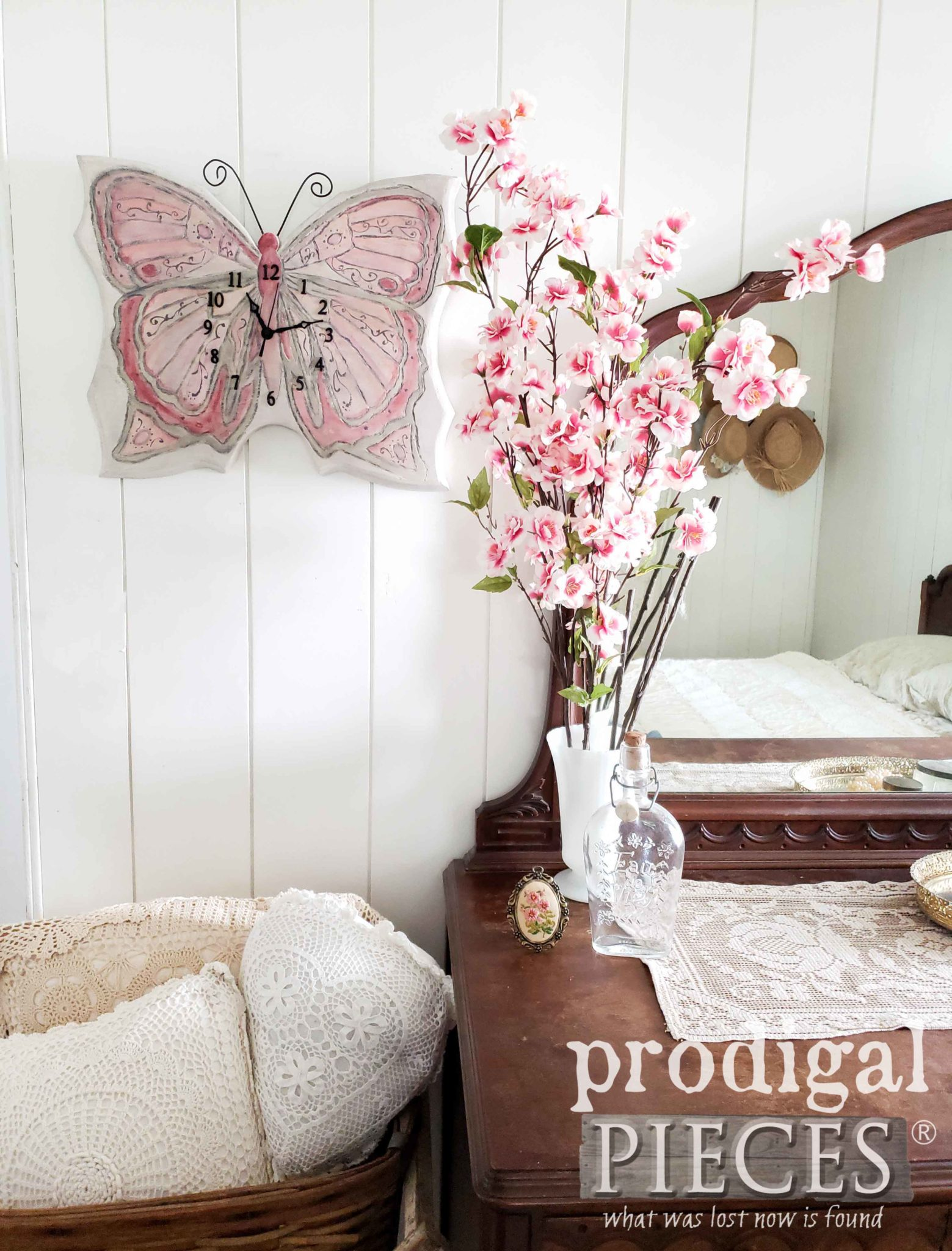 Handmade Butterfly Wall Clock from an Unwanted Find by Larissa of Prodigal Pieces | prodigalpieces.com
