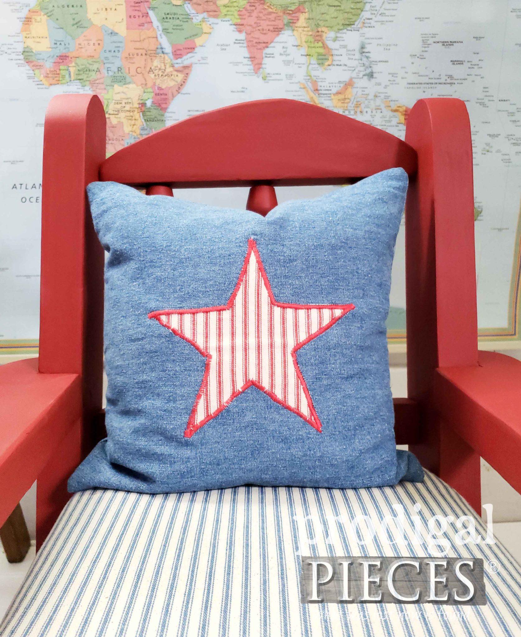 Handmade Denim Pillow with Ticking Stripe Star by Larissa of Prodigal Pieces | prodigalpieces.com