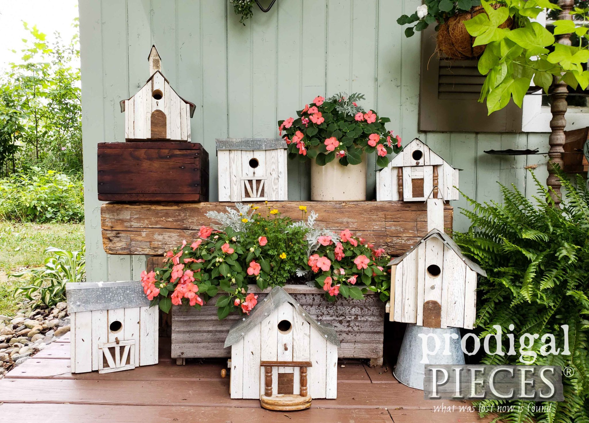 Collection of Handmade Farmhouse Birdhouses from Salvaged Junk by Larissa of Prodigal Pieces | prodigalpieces.com