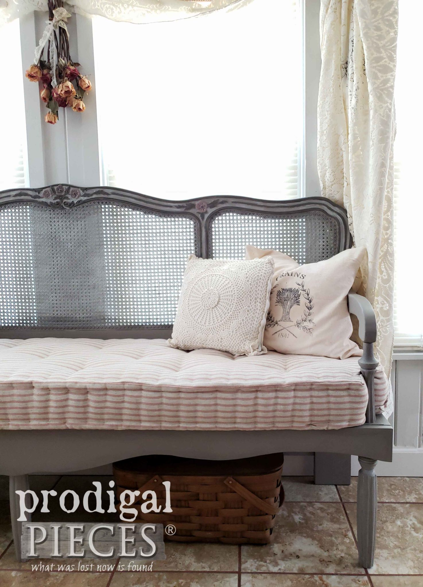 Handmade French Provincial Headboard Bench with Tufted French Mattress by Larissa of Prodigal Pieces | prodigalpieces.com