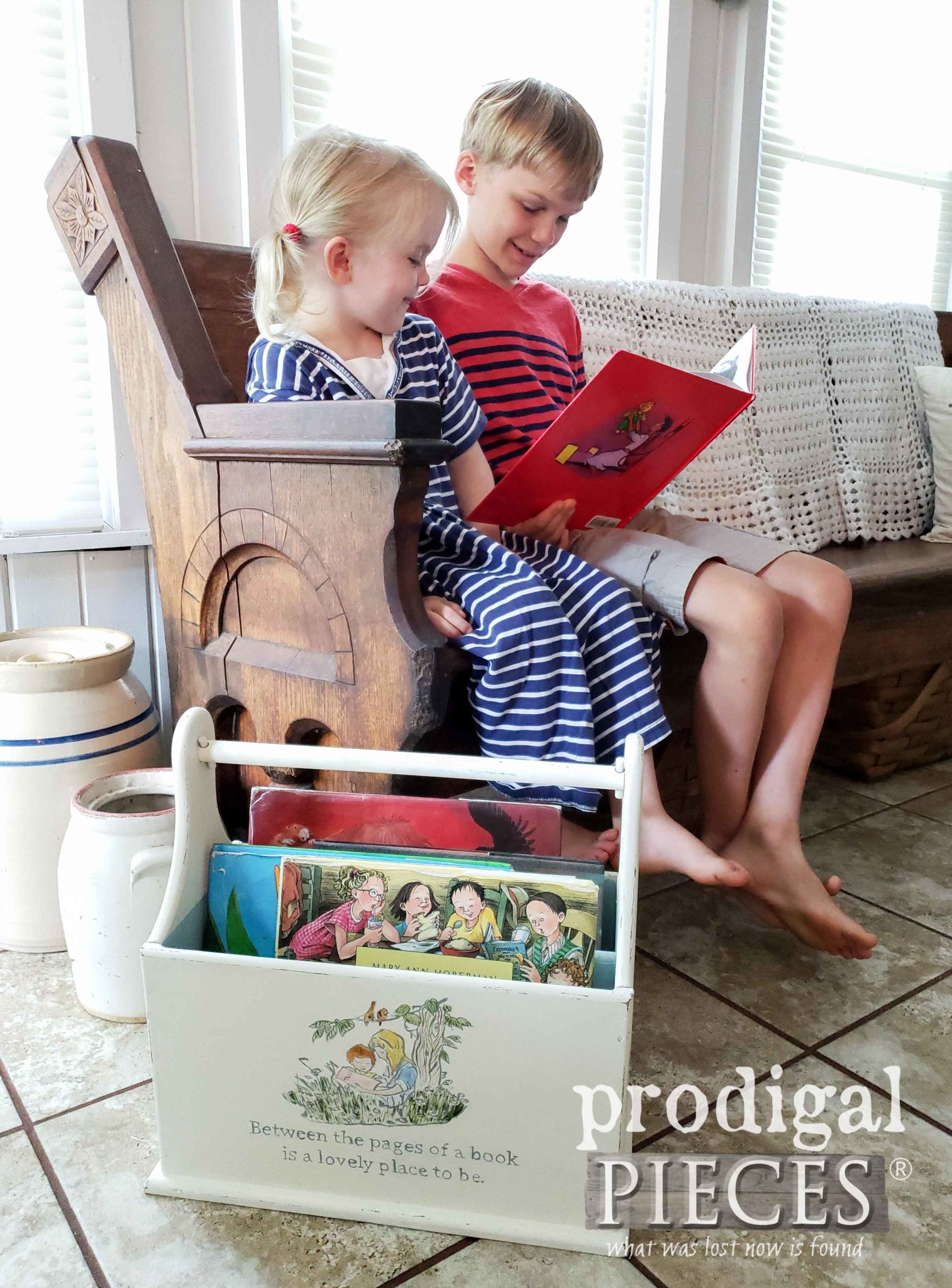 Kids Reading Books Using an Upcycled Magazine Rack as a Book Caddy | DIY Fun with Printable Reading Checkllist by Prodigal Pieces | prodigalpieces.com