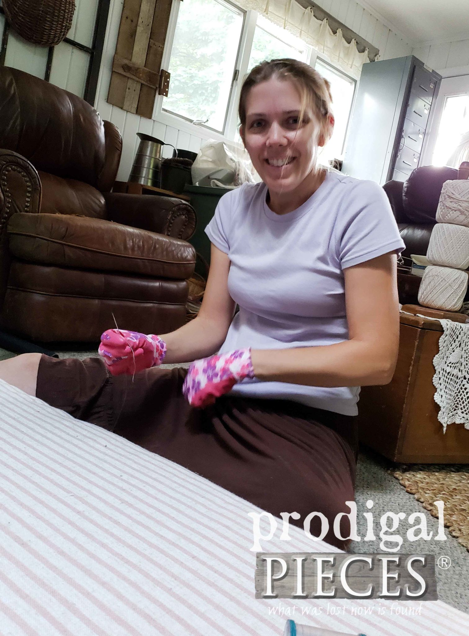 Larissa Haynes of Prodigal Pieces Sewing a French Mattress for her French Provincial Headboard Bench | prodigalpieces.com
