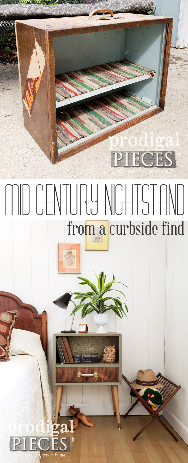 Say whaaat? Larissa of Prodigal Pieces found a piece of handmade luggage on the curb and turned it into a Mid Century Modern Nightstand. Awesome! See the DIY details at prodigalpieces.com #prodigalpieces #diy #handmade #homedecor #shopping #furniture