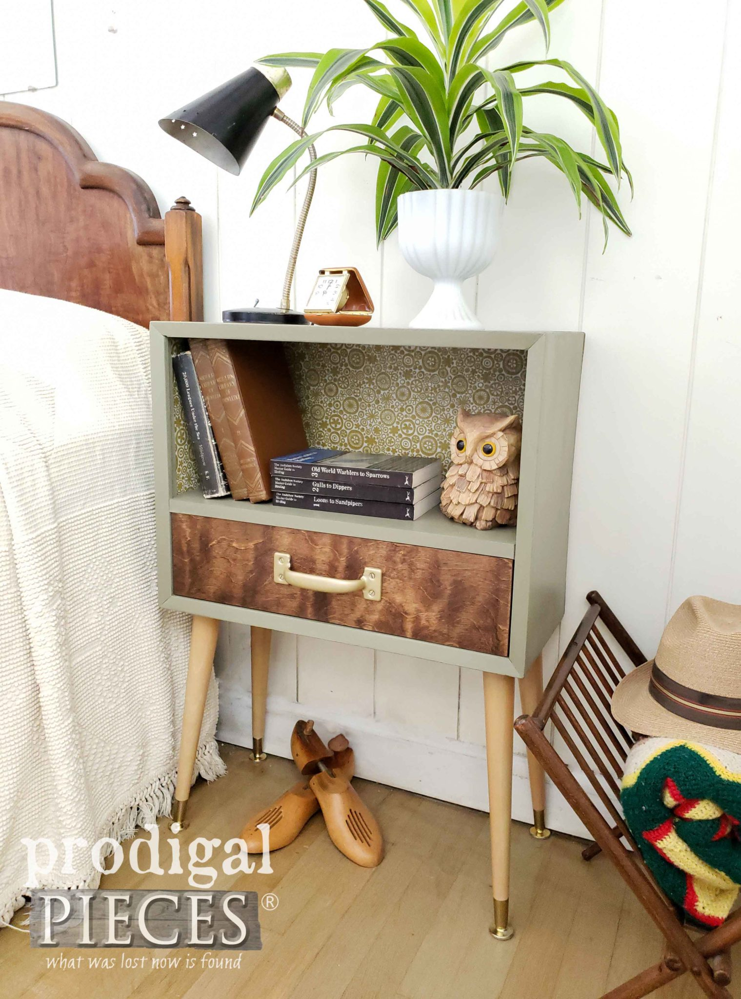 Fantastic Mid Century Nightstand Built by Larissa of Prodigal Pieces Using Reclaimed Luggage | prodigalpieces.com