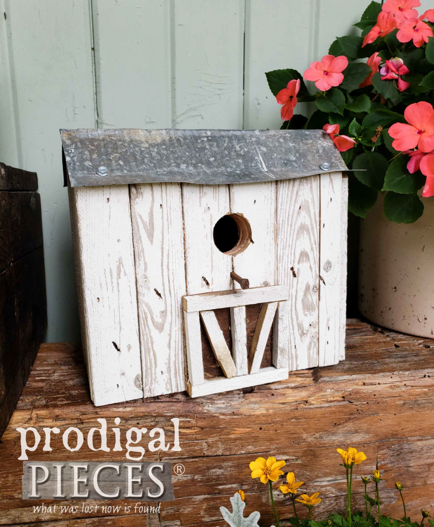 Handmade Miniature Barn Birdhouse Created from Reclaimed Materials by Larissa of Prodigal Pieces | prodigalpieces.com