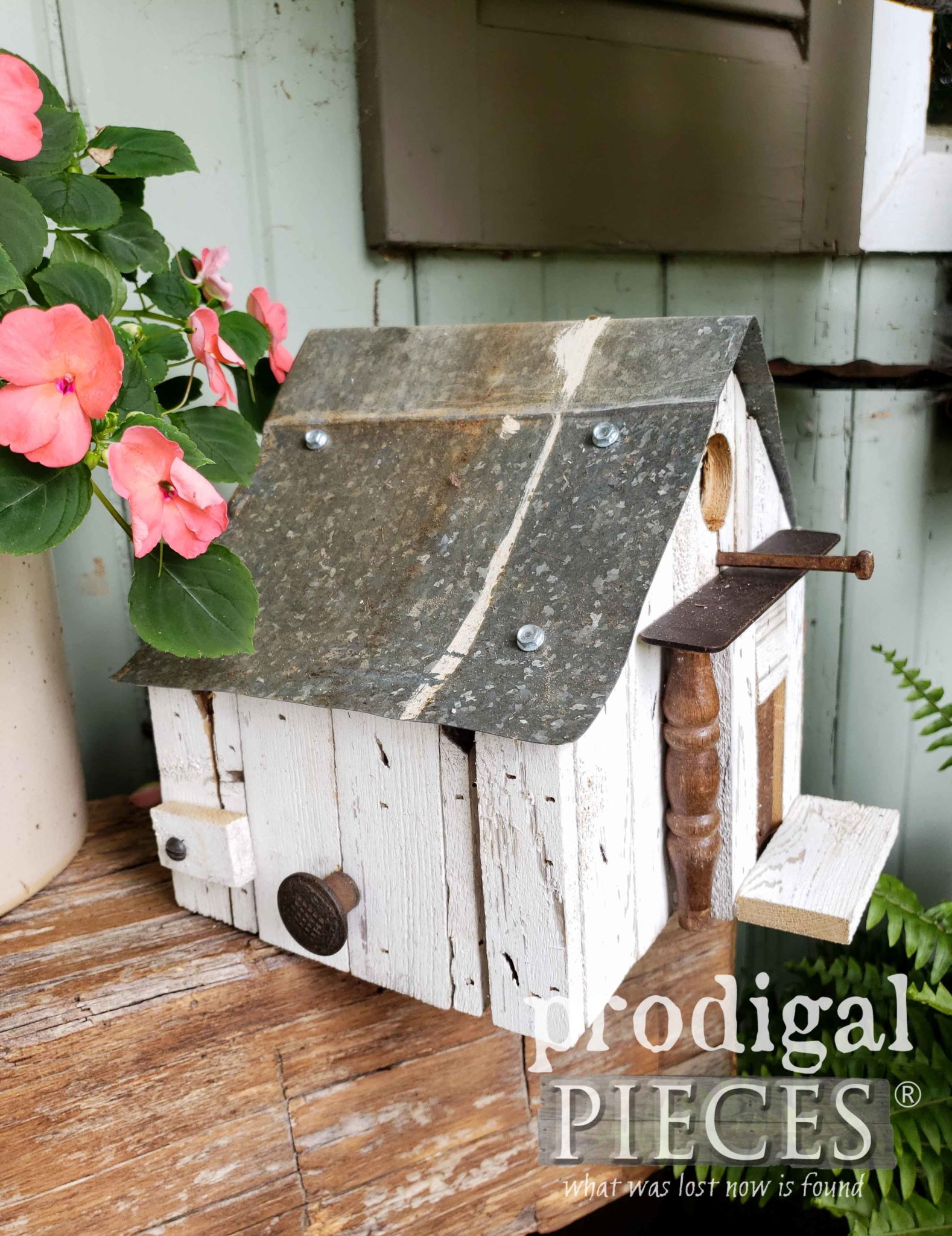 Miniature Farmhouse Birdhouse Created from Salvaged Junk by Larissa of Prodigal Pieces | prodigalpieces.com