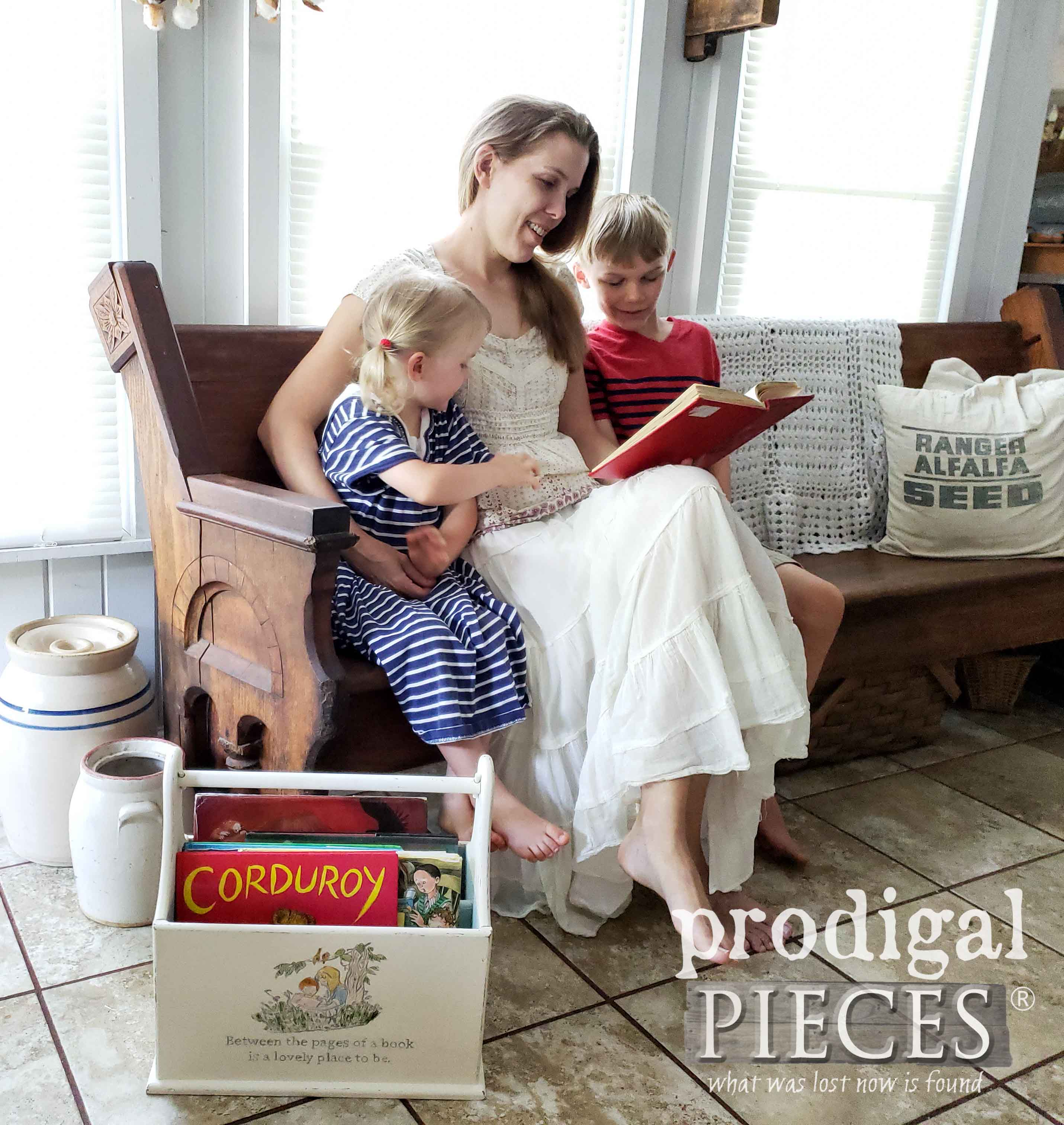 Larissa of Prodigal Pieces reading a story to her children | Get your FREE printable reading list at prodigalpieces.com