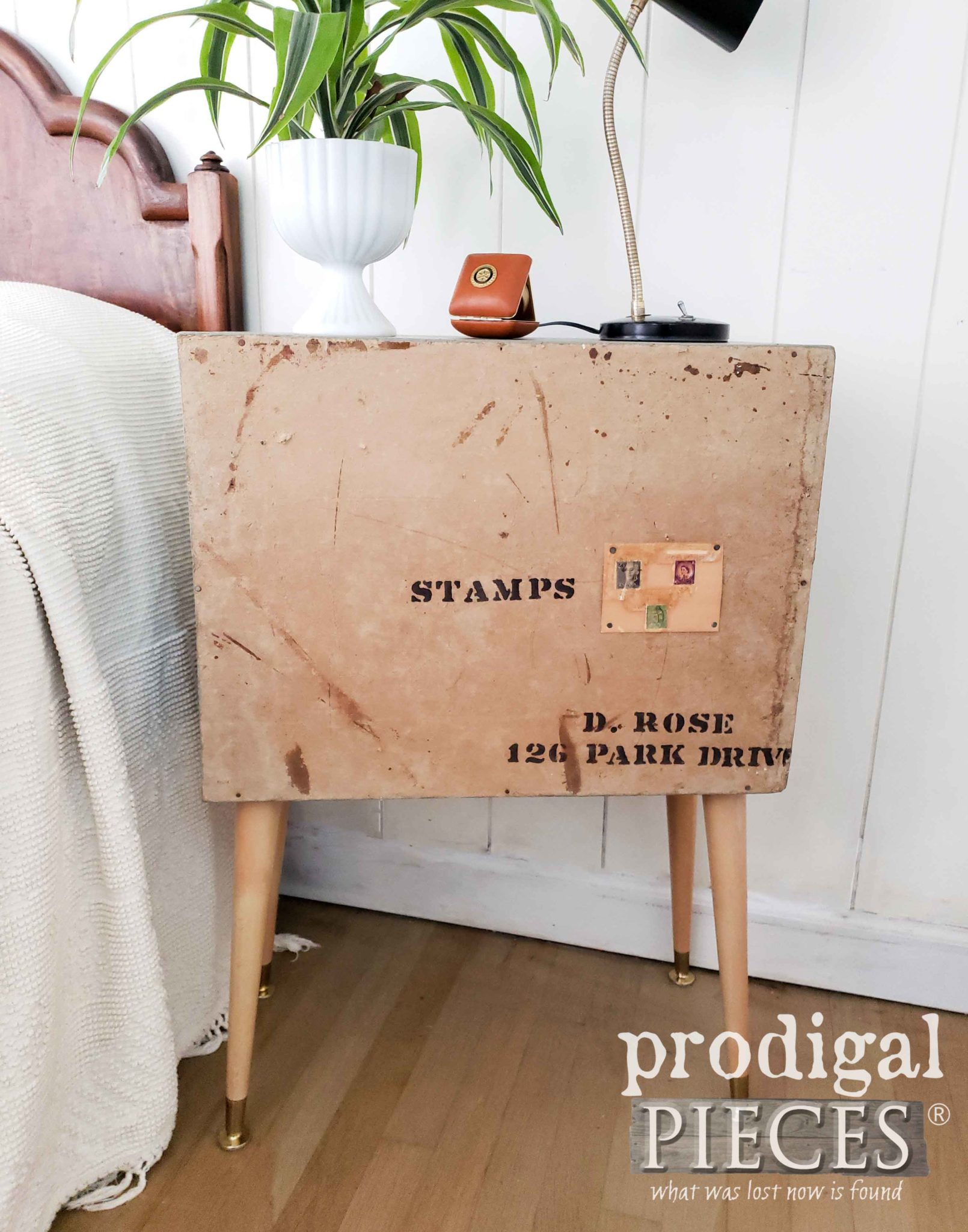 Handmade Nightstand Back with Original Stamps by Prodigal Pieces | prodigalpieces.com
