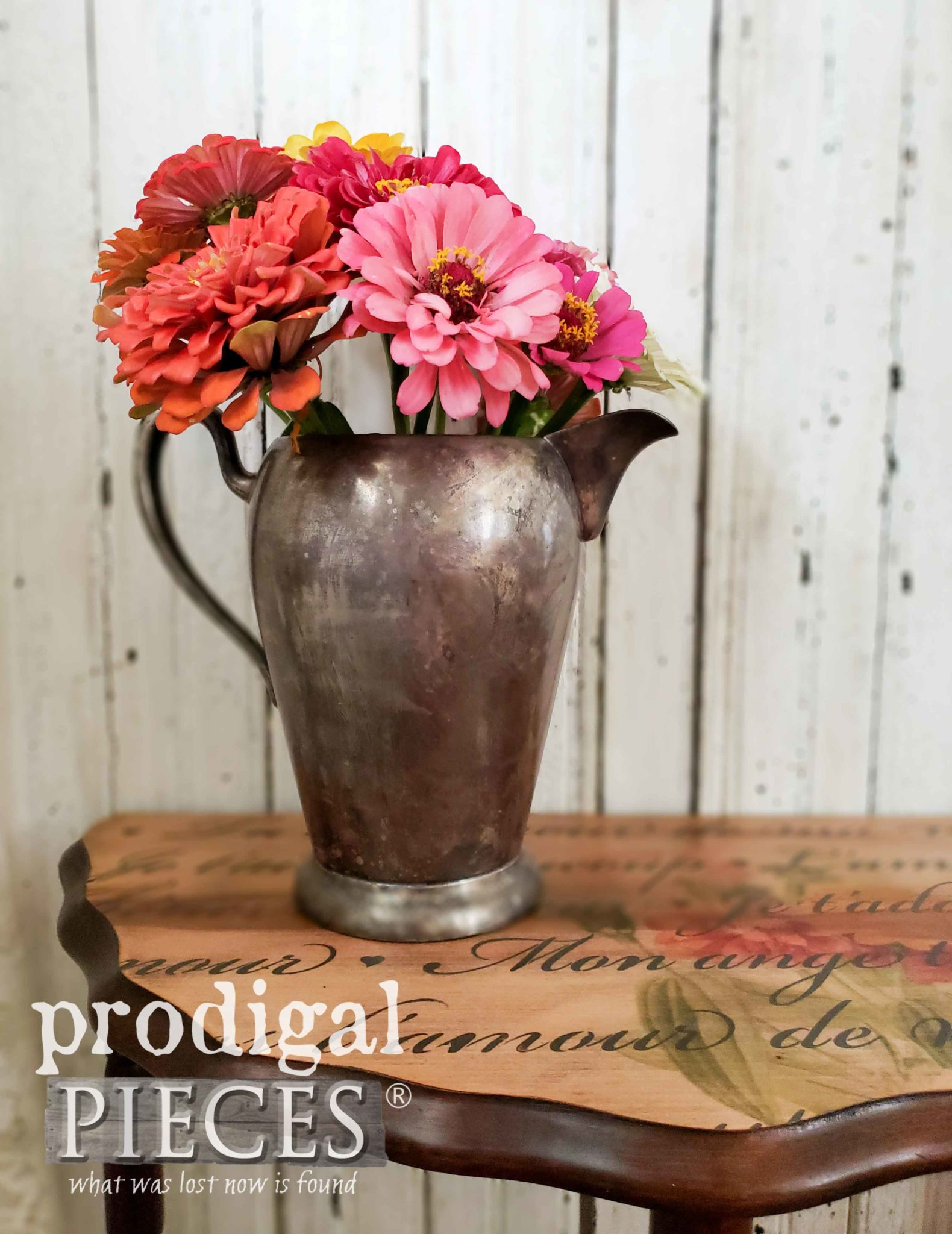 Vintage Pewter Pitcher of Zinnias on Repaired Table by Larissa of Prodigal Pieces | prodigalpieces.com
