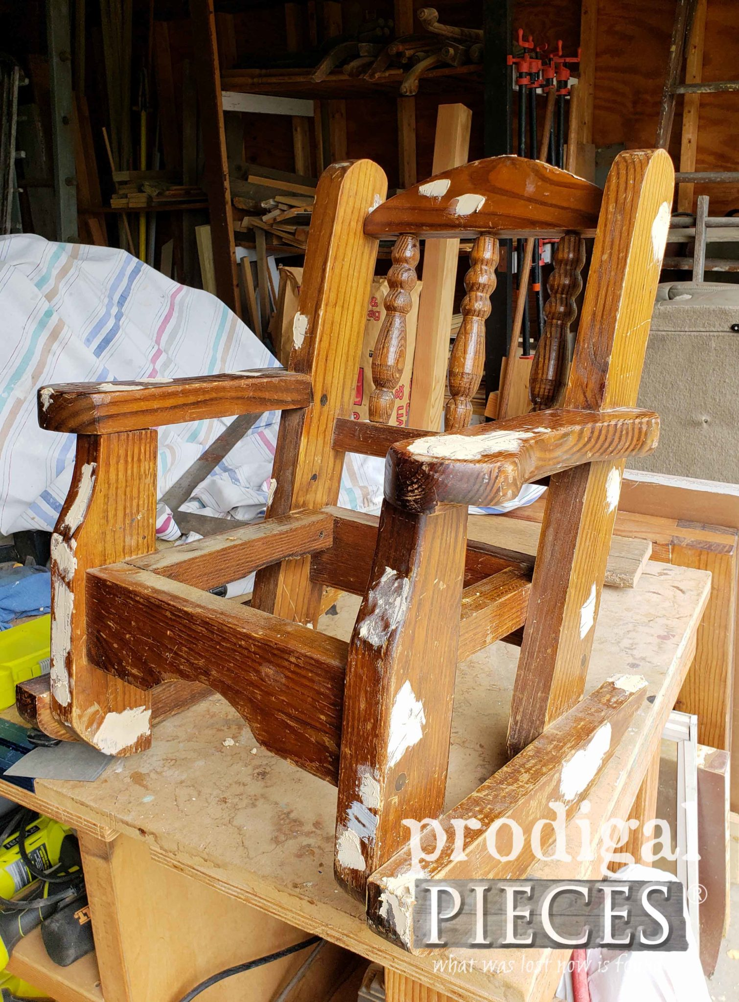 Child's Rocking Chair Prepped for Makeover by Prodigal Pieces | prodigalpieces.com