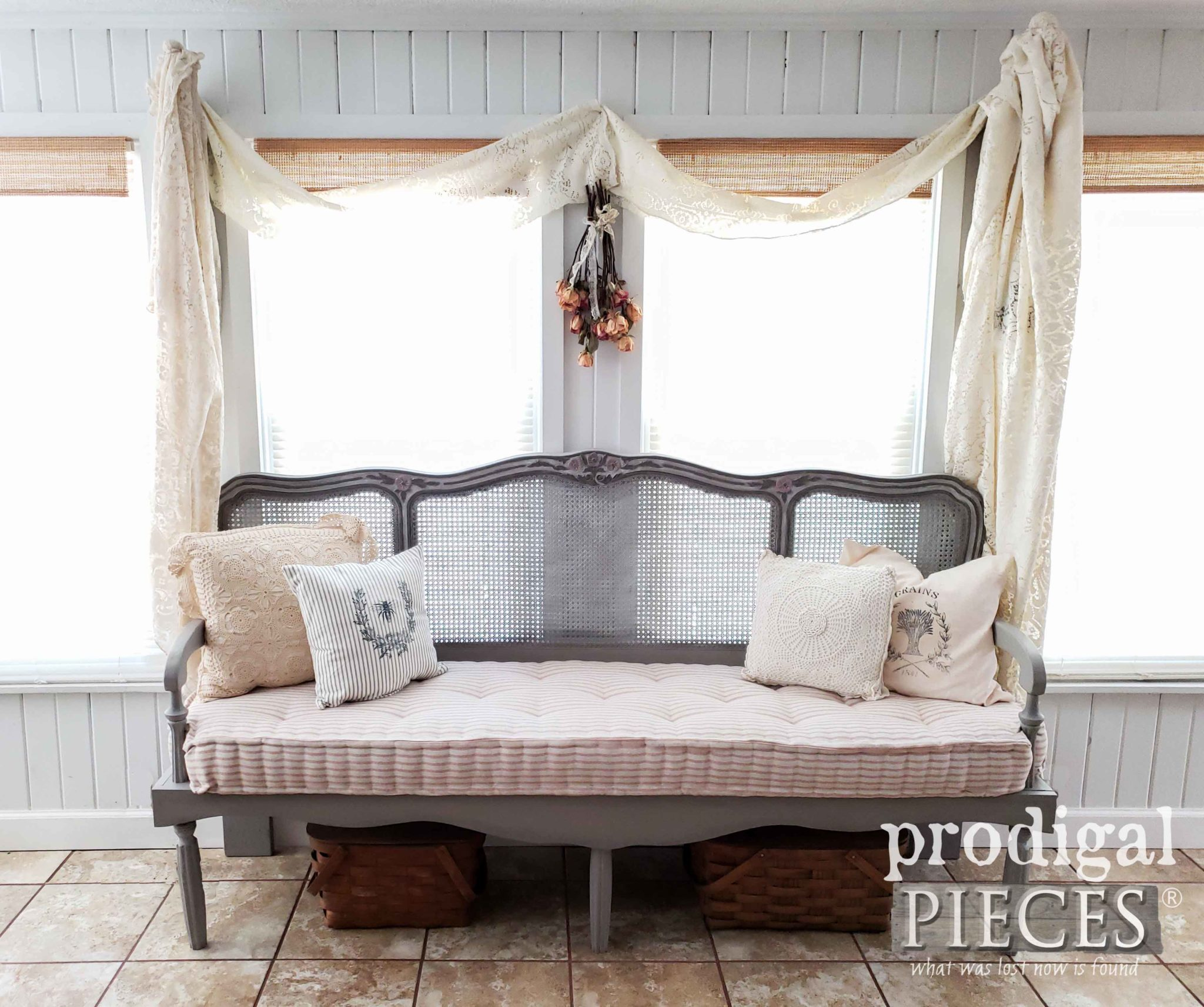 Handmade French Provincial Headboard Bench Built with Custom French Mattress by Larissa of Prodigal Pieces | prodigalpieces.com