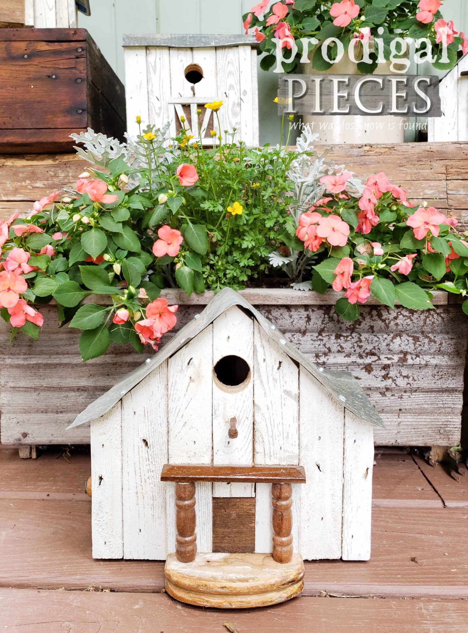 Reclaimed Miniature Farmhouse Birdhouse Created by Larissa of Prodigal Pieces | prodigalpieces.com