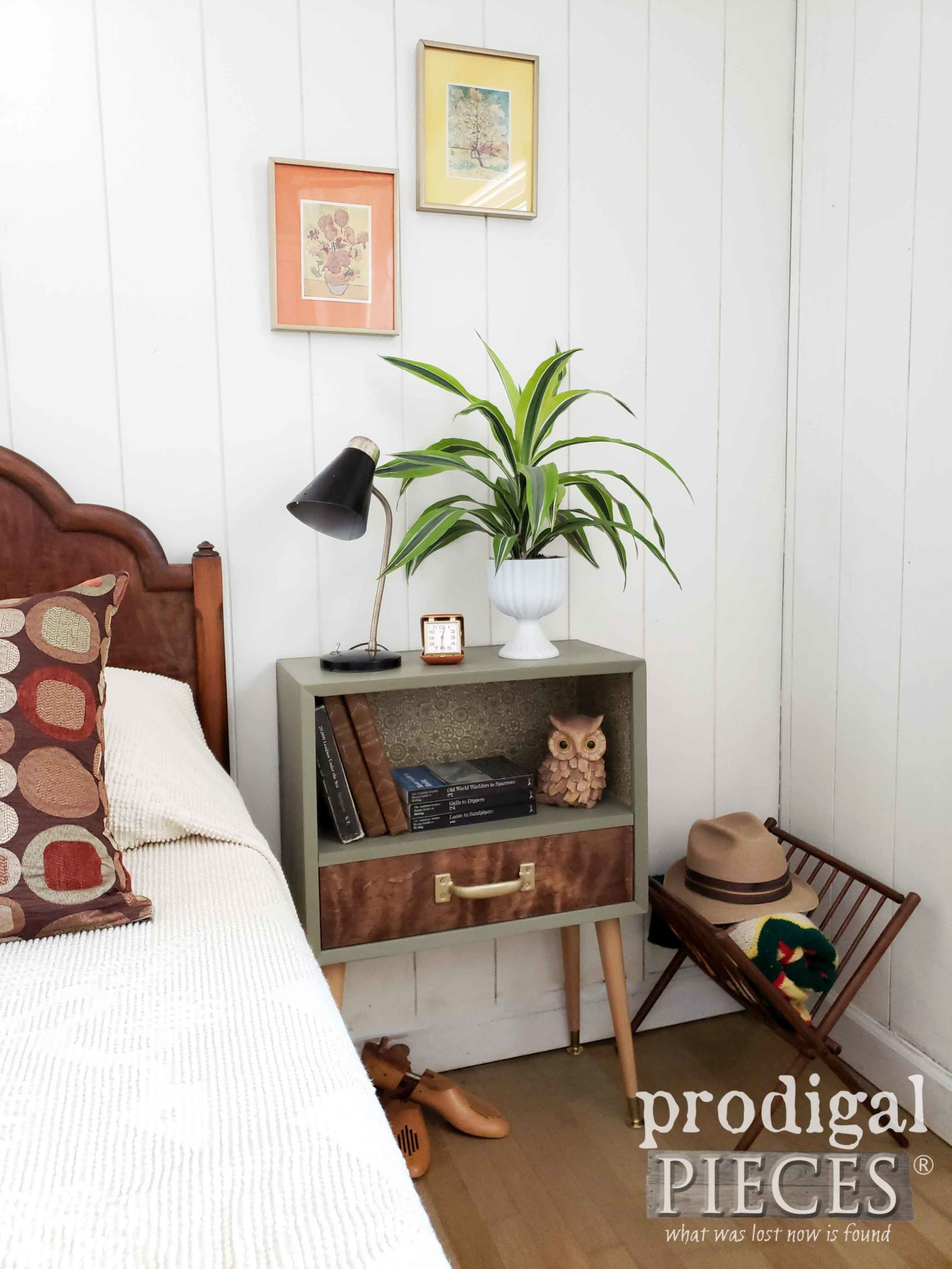 Retro Mid Century Bedroom Decor with Handmade Nightstand by Larissa of Prodigal Pieces | prodigalpieces.com