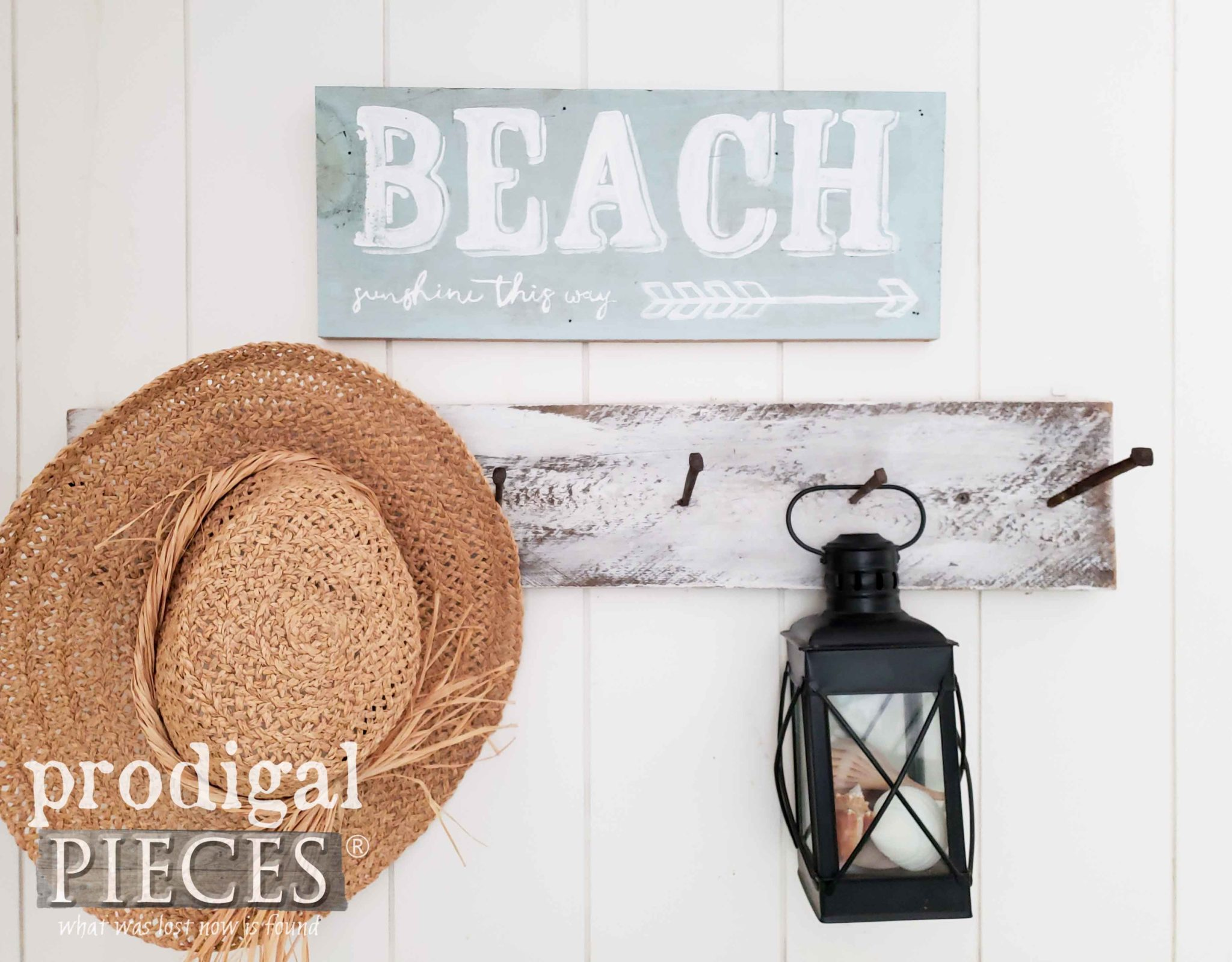 Rustic Hand-Painted Beach Sign by Larissa of Prodigal Pieces | prodigalpieces.com