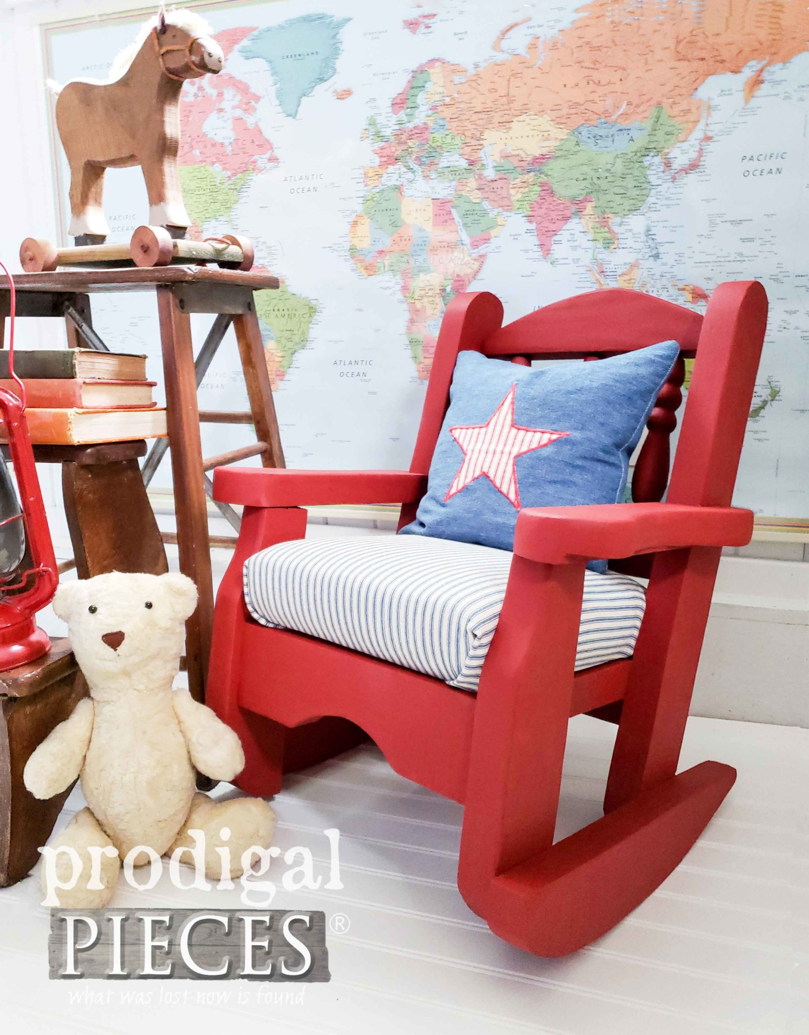 Rustic Red Farmhouse Style Child's Rocking Chair Redo by Larissa of Prodigal Pieces | prodigalpieces.com