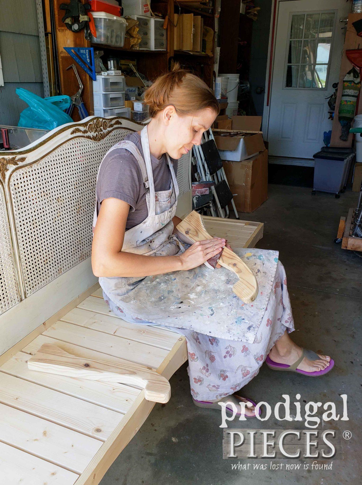 Sanding Headboard Bench Arms | prodigalpieces.com
