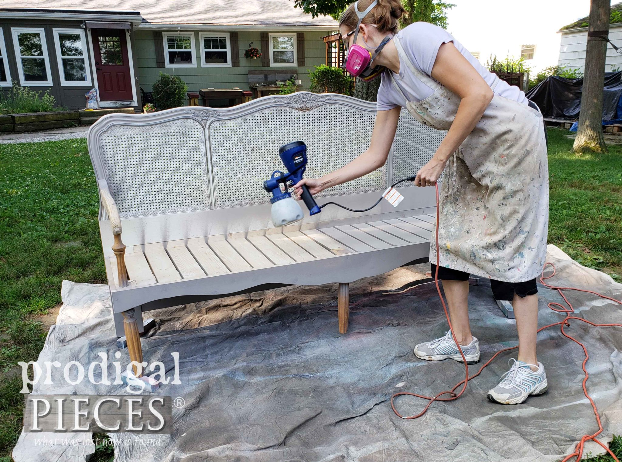 Spray Painting DIY French Provincial Headboard Bench by Larissa of Prodigal Pieces | prodigalpieces.com