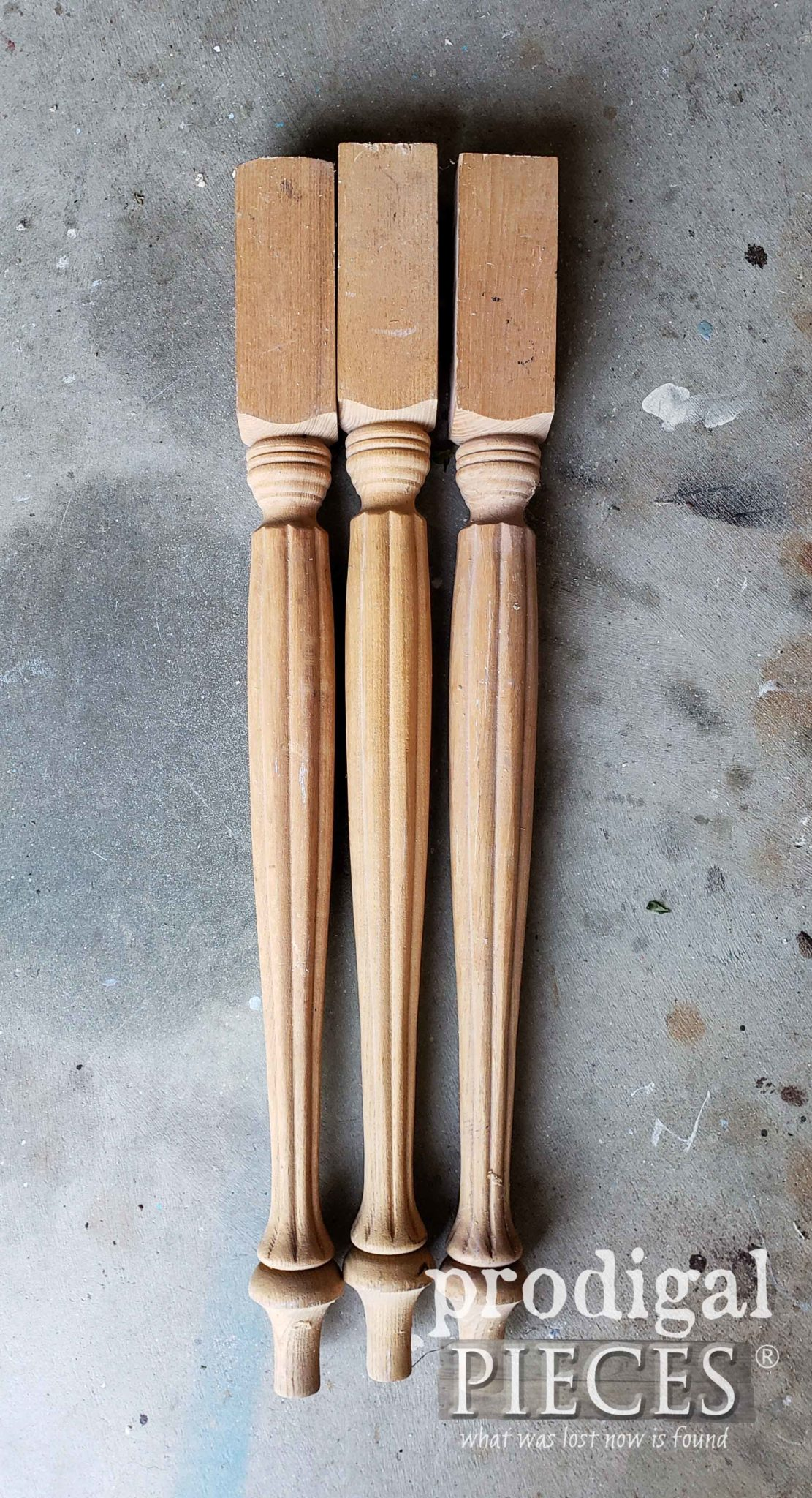 Set of 3 Unfinished Turned Wooden Table Legs found at Thrift Store by Larissa of Prodigal pieces | prodigalpieces.com