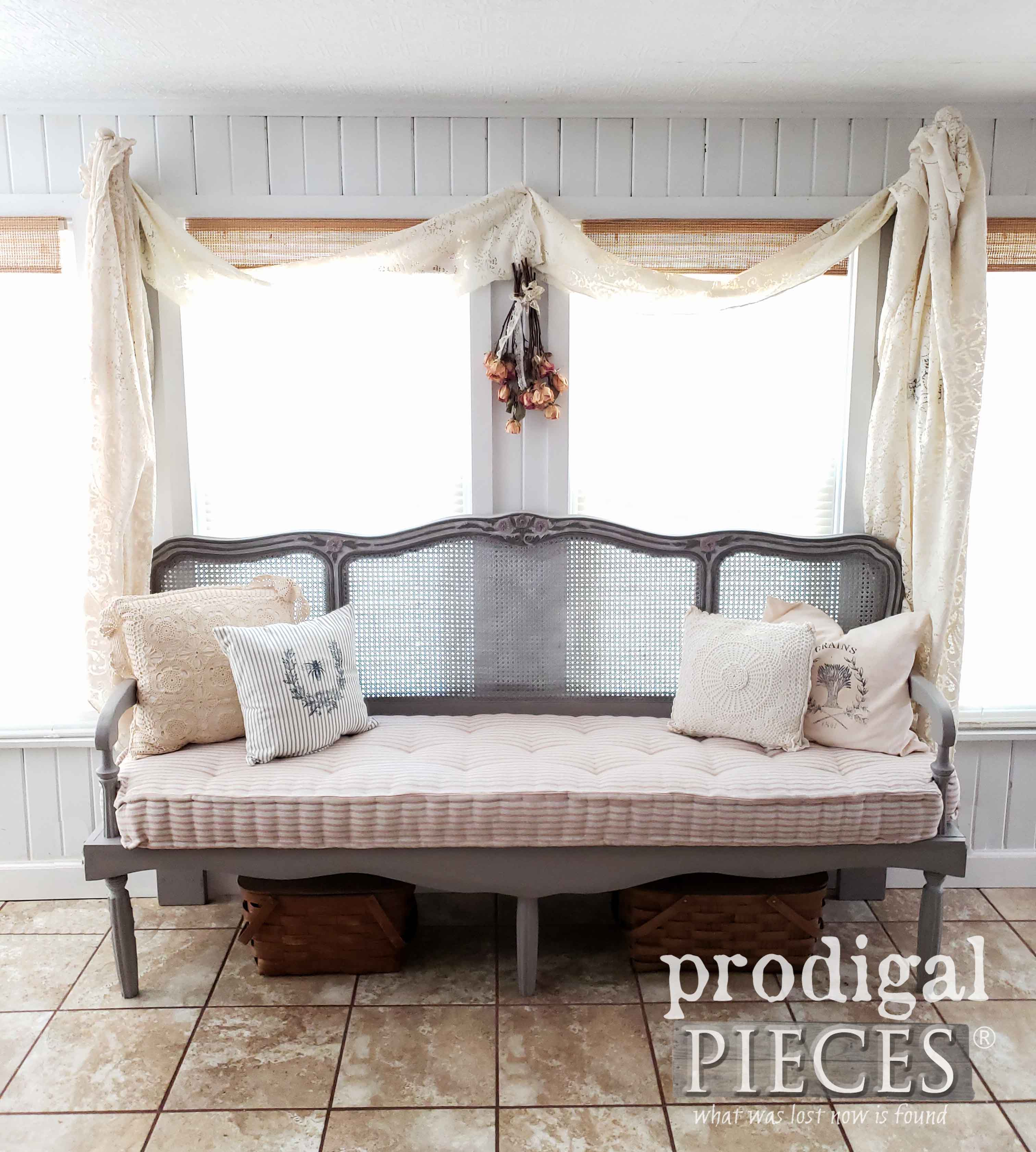 Tufted French Mattress on DIY Headboard Bench built by Larissa of Prodigal Pieces | prodigalpieces.com #prodigalpieces #furniture #diy #handmade #homedecor