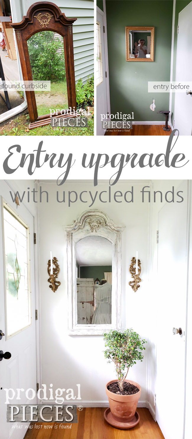 From Curbside to a Beautiful Upcycled Dresser Mirror, Larissa of Prodigal Pieces shows you how to add light, depth, and interest to your entry. See the DIY details at prodigalpieces.com | #prodigalpieces #diy #interiordesign #homedecor