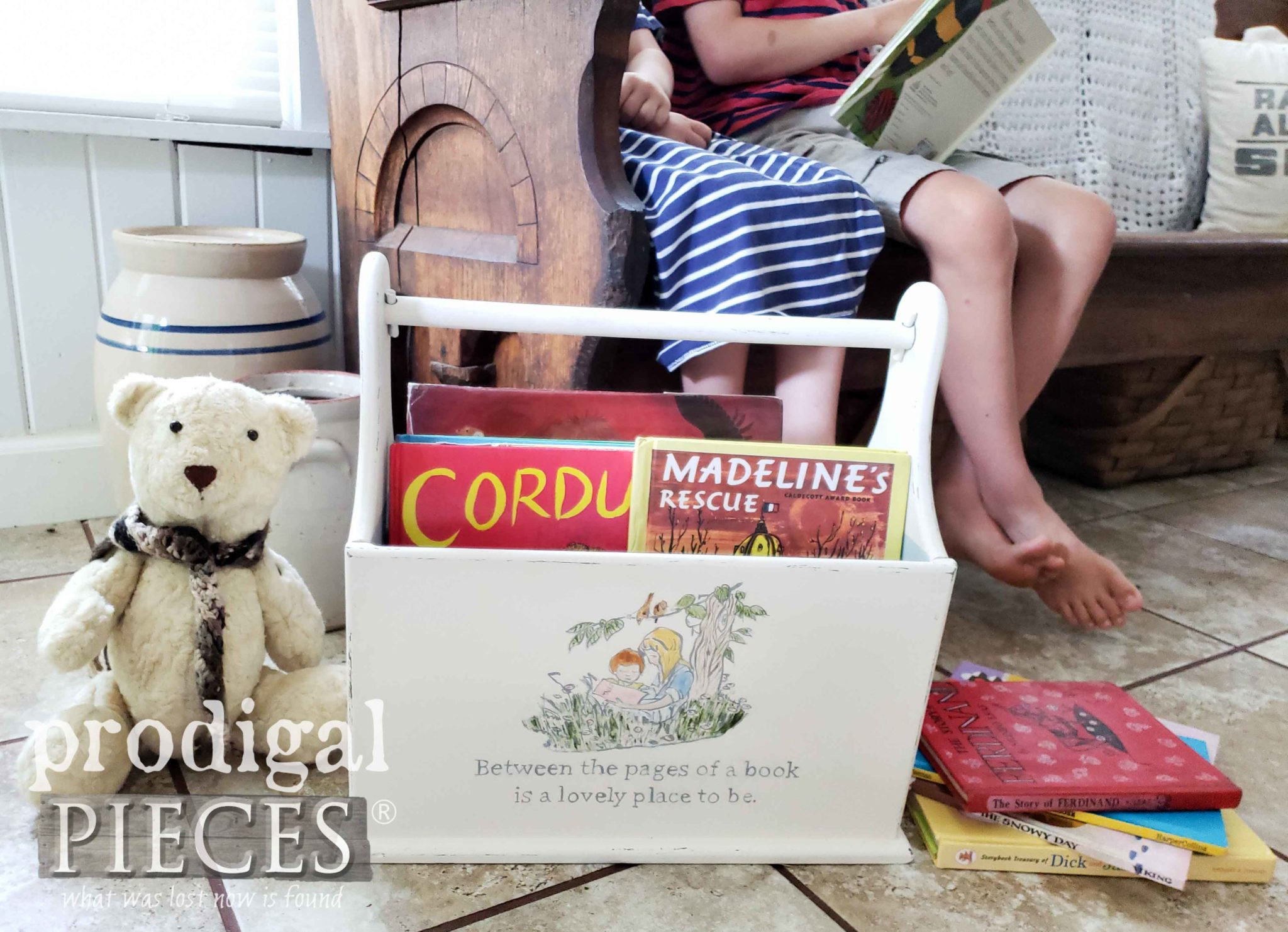 Upcycled Book Caddy made from a Vintage Magazine Rack by Prodigal Pieces | prodigalpieces.com