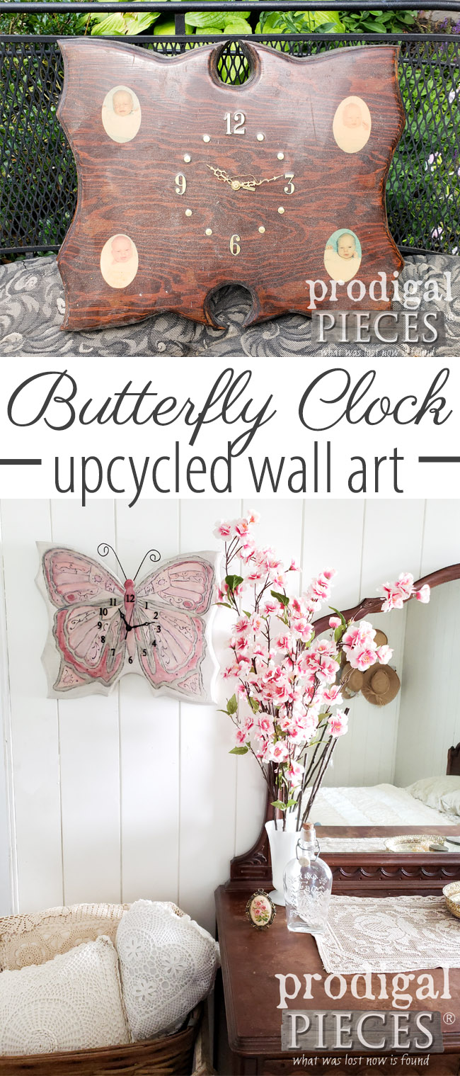 How beautiful! This trashed handmade wall clock was given new life as a beautiful butterfly by Larissa of Prodigal Pieces | Come see the DIY details at prodigalpieces.com #prodigalpieces #handmade #homedecor #diy #vintage #shopping