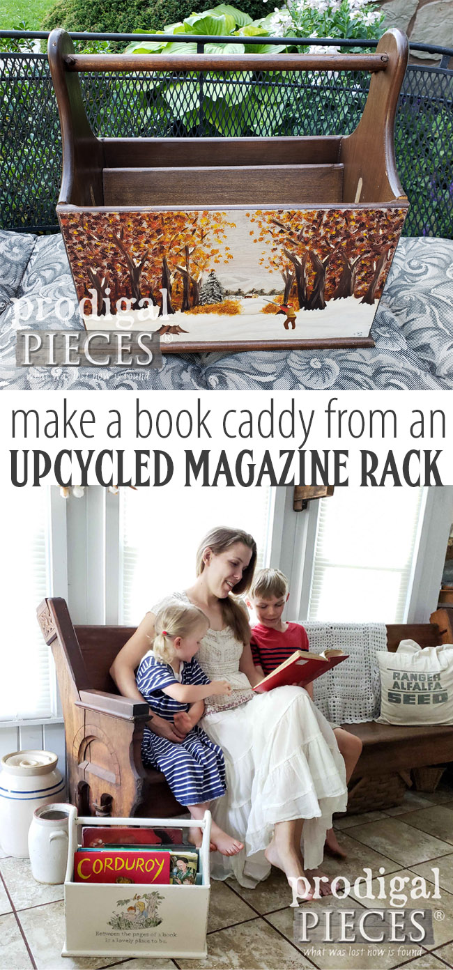 Get into a book and find adventure! | An upcycled magazine rack becomes a fun book caddy with a little DIY spirit | Come see at Prodigal Pieces | prodigalpieces.com #prodigalpieces #handmade #books #diy #vintage