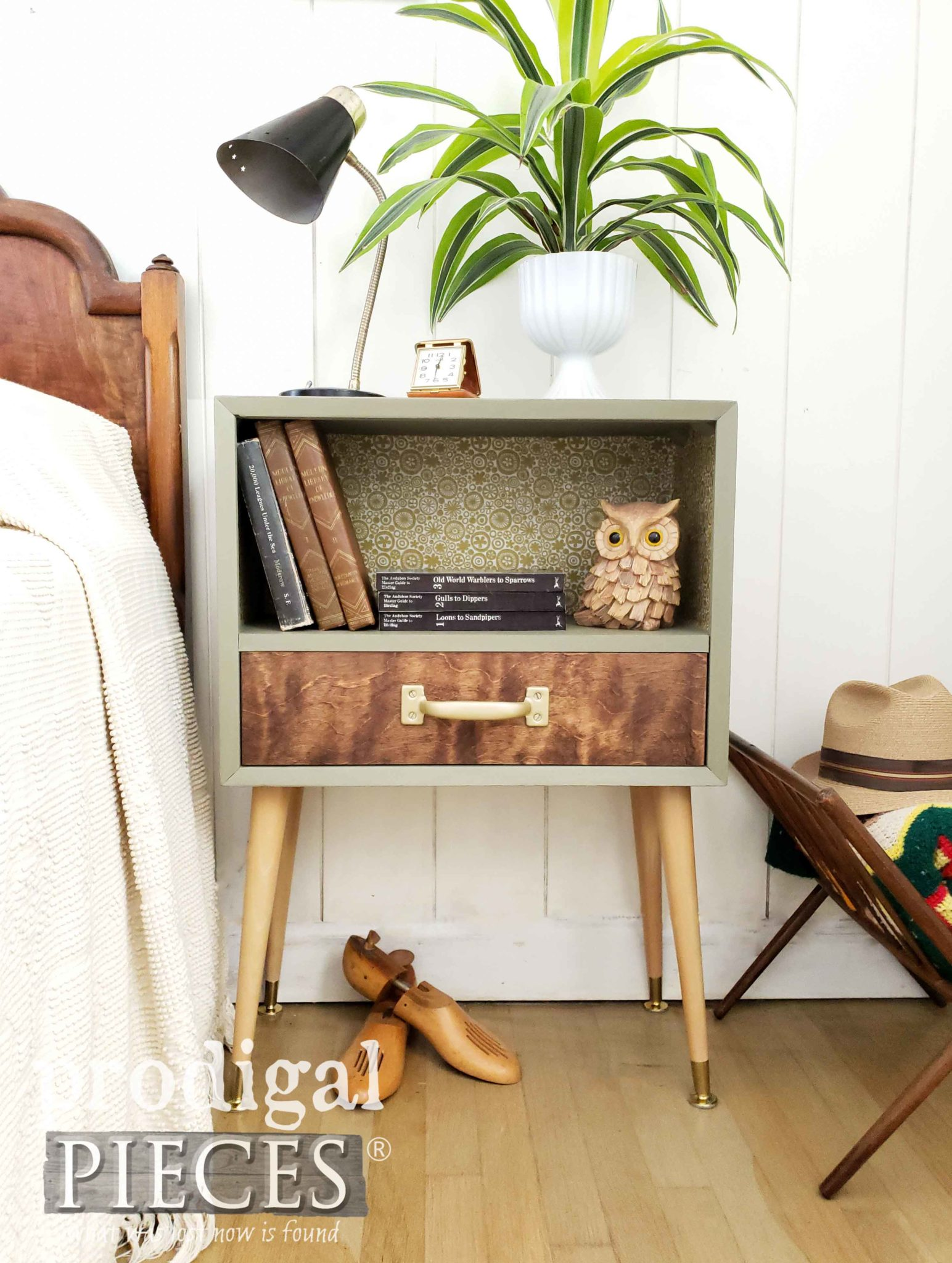 Upcycled Mid Century Modern Nightstand Created by Larissa of Prodigal Pieces | prodigalpieces.com