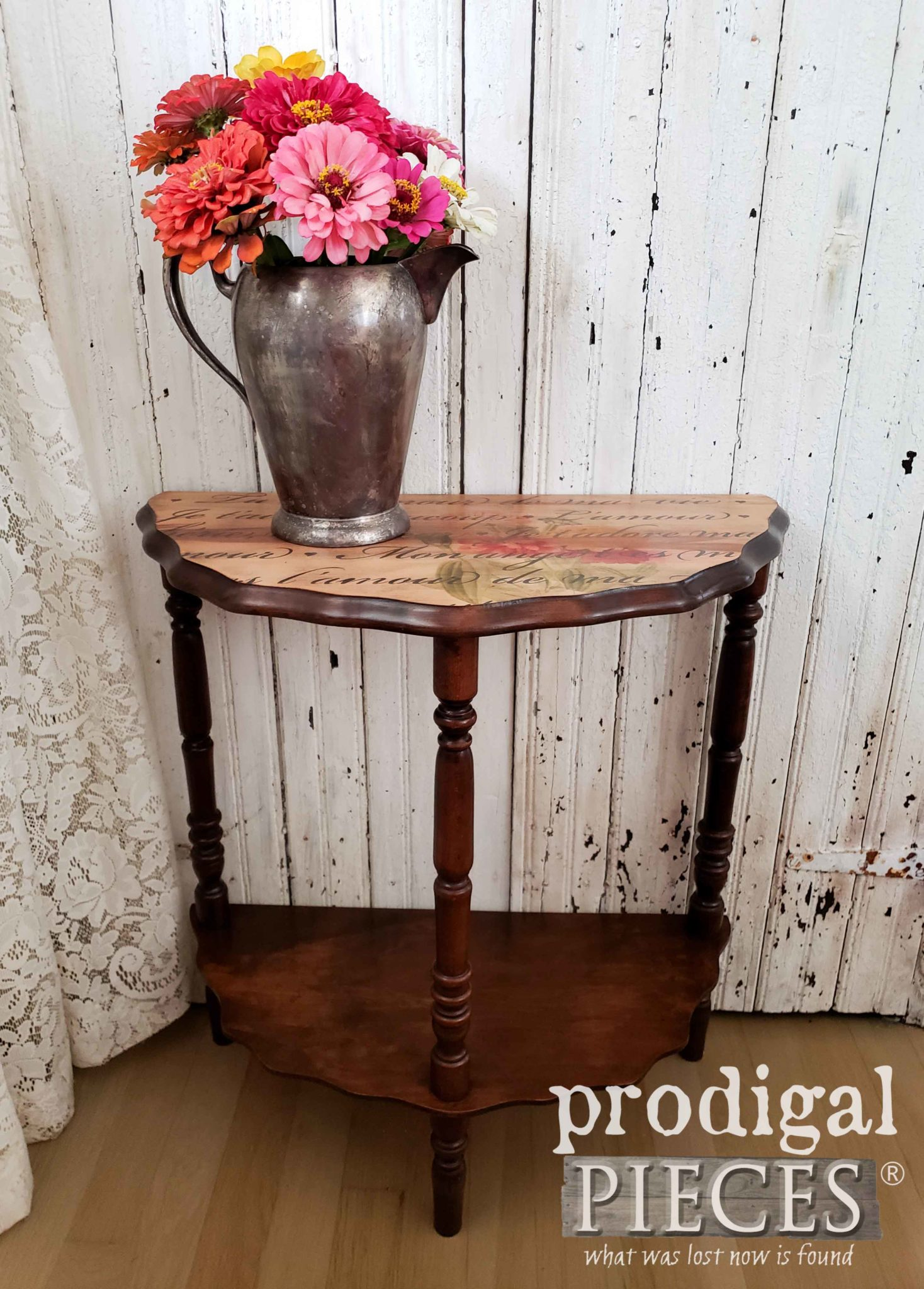 Beautiful Vintage Half-Circle Table Given New Life with DIY Image Transfer and Stenciling by Larissa of Prodigal Pieces | prodigalpieces.com
