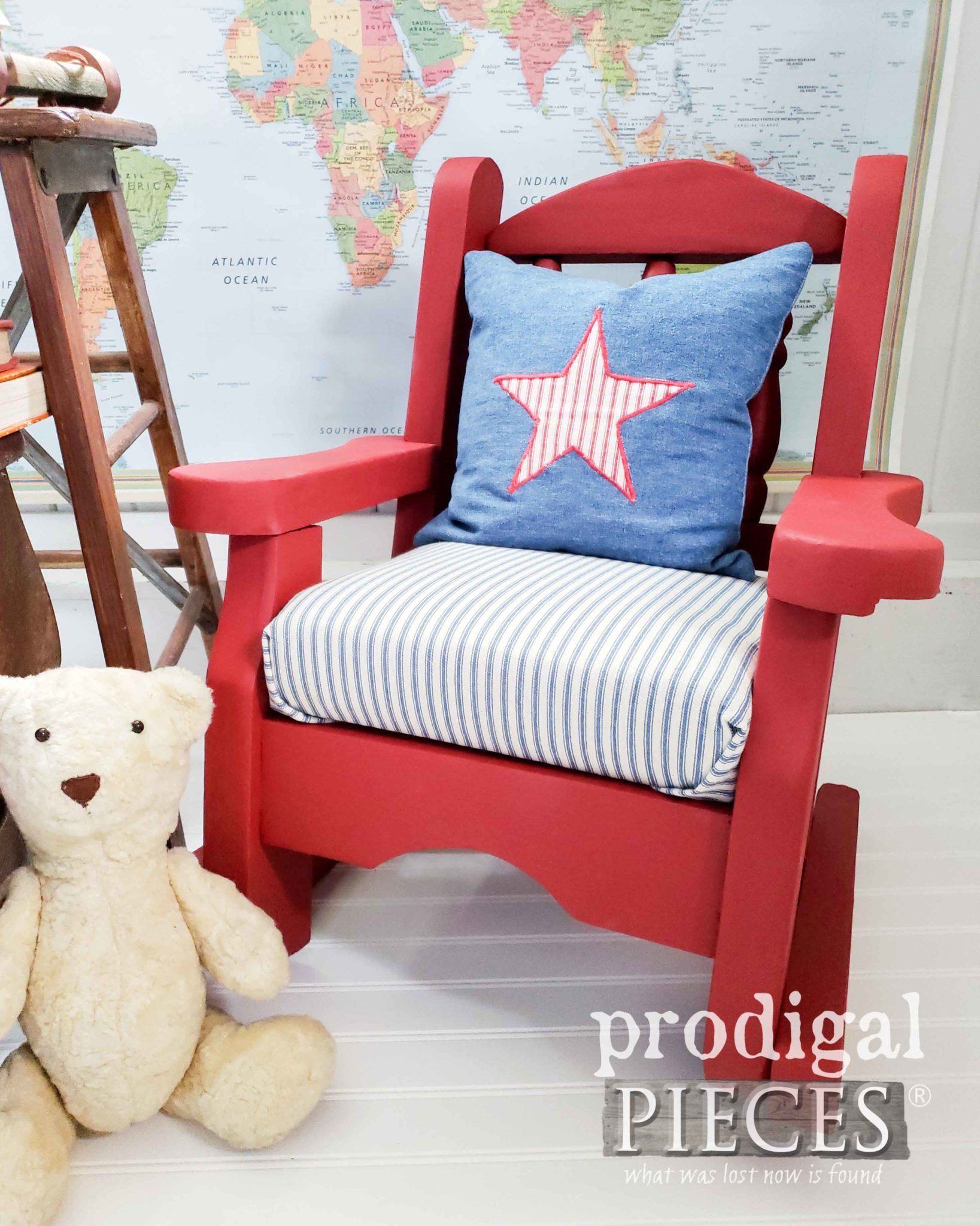 Vintage Handmade Child's Rocking Chair with Americana Style by Larissa of Prodigal Pieces | prodigalpieces.com