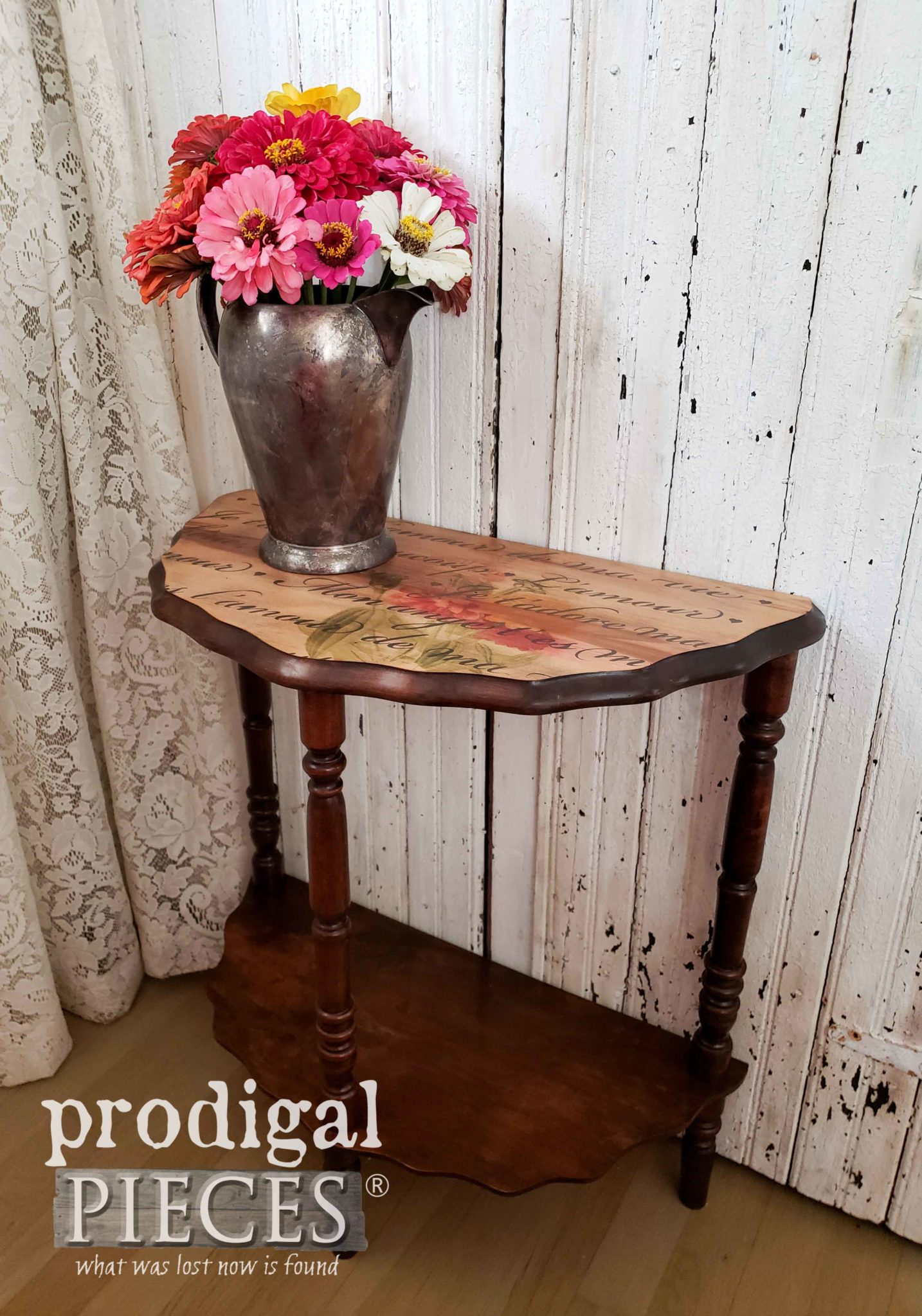 Vintage Side Table Restored from Damage with French Script Stencil and DIY Image Transfer by Larissa of Prodigal Pieces | prodigalpieces.com