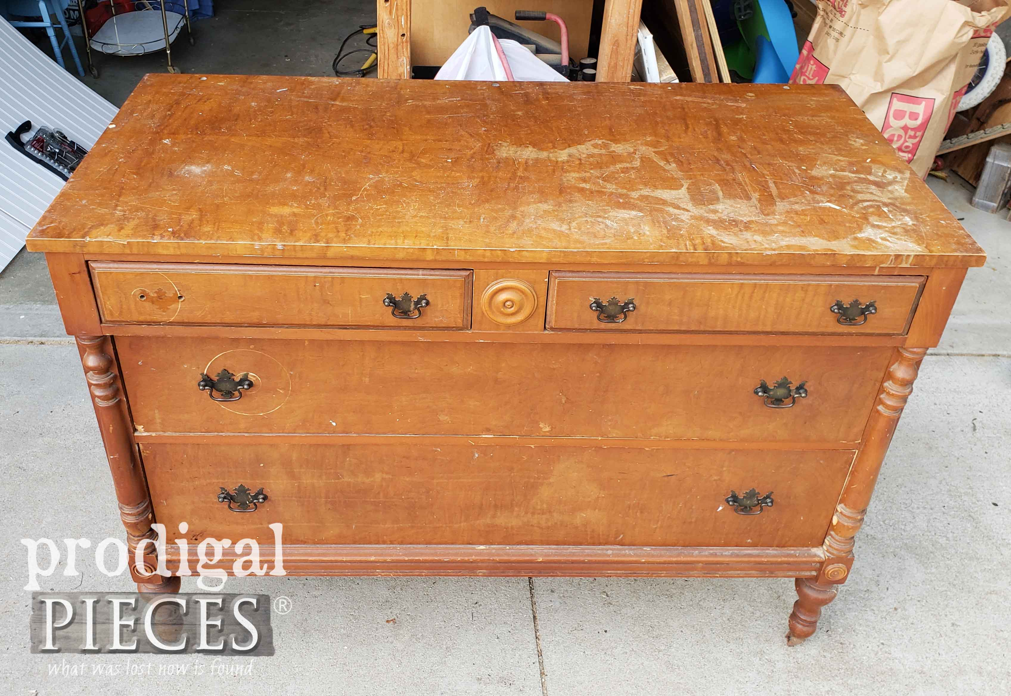 Antique Dresser Before Makeover by Larissa of Prodigal Pieces | prodigalpieces.com
