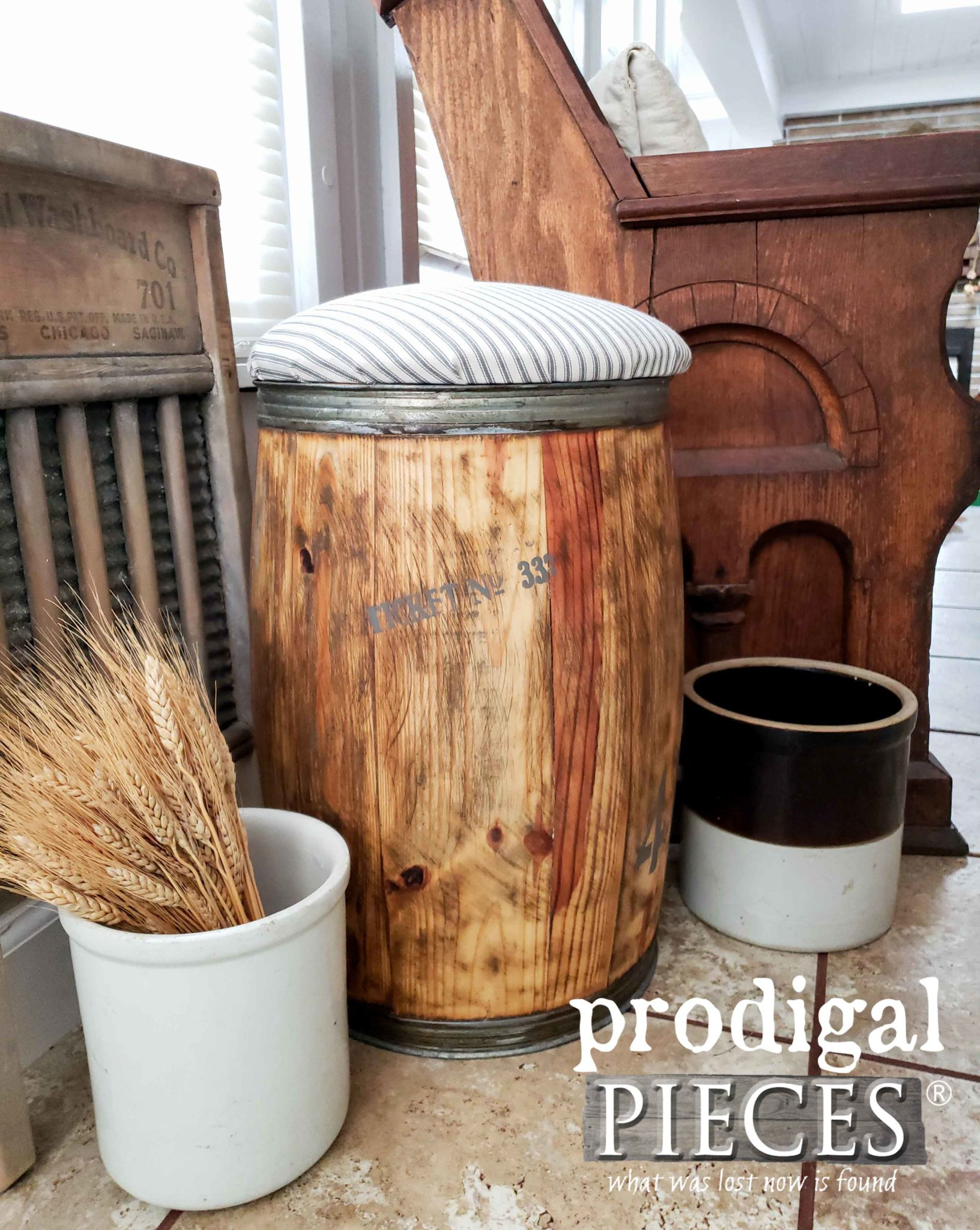 Antique Farmhouse Nail Barrel Stool with Ticking Stripe Upholstery by Larissa of Prodigal Pieces | prodigalpieces.com