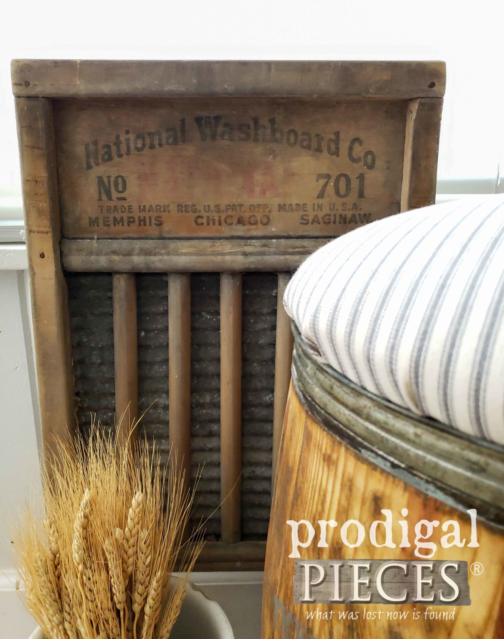 Grandmother's Antique Washboard as Farmhouse Home Decor by Larissa of Prodigal Pieces | prodigalpieces.com