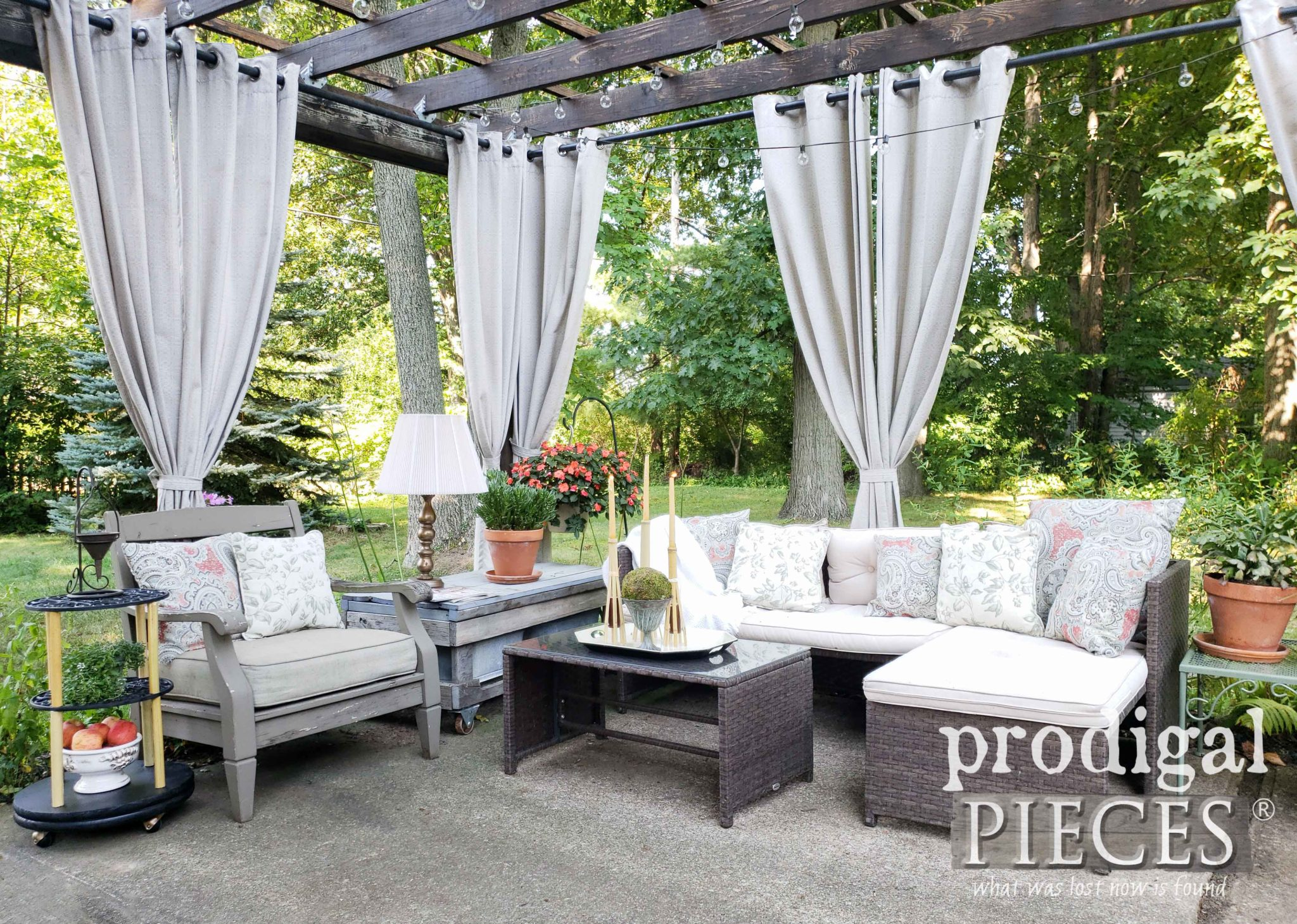Outdoor Patio Area with Pergola and DIY decor ideas by Larissa of Prodigal Pieces | prodigalpieces.com