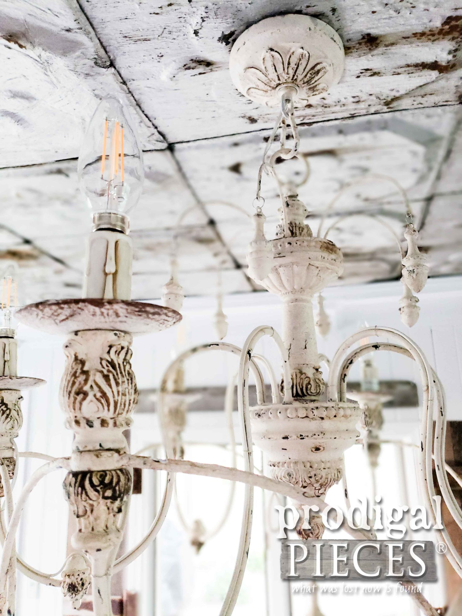 White Chandelier with Chippy Paint and Rusty Patina with Dimmable LED Lights by Prodigal Pieces | prodigalpieces.com