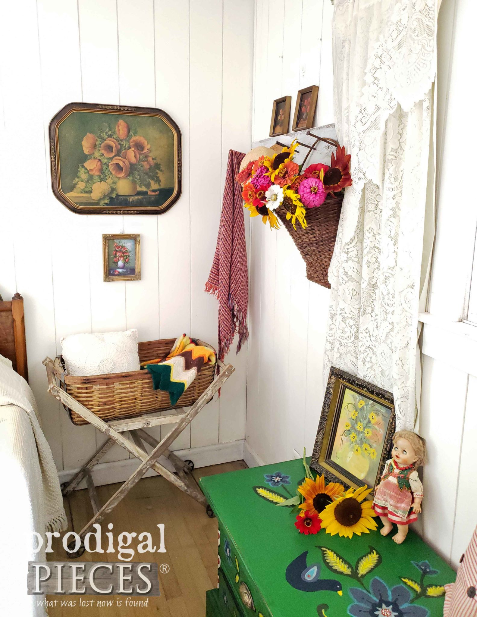 Vintage Style Bedroom with Loads of Color and Folk Art Charm by Larissa of Prodigal Pieces | prodigalpieces.com