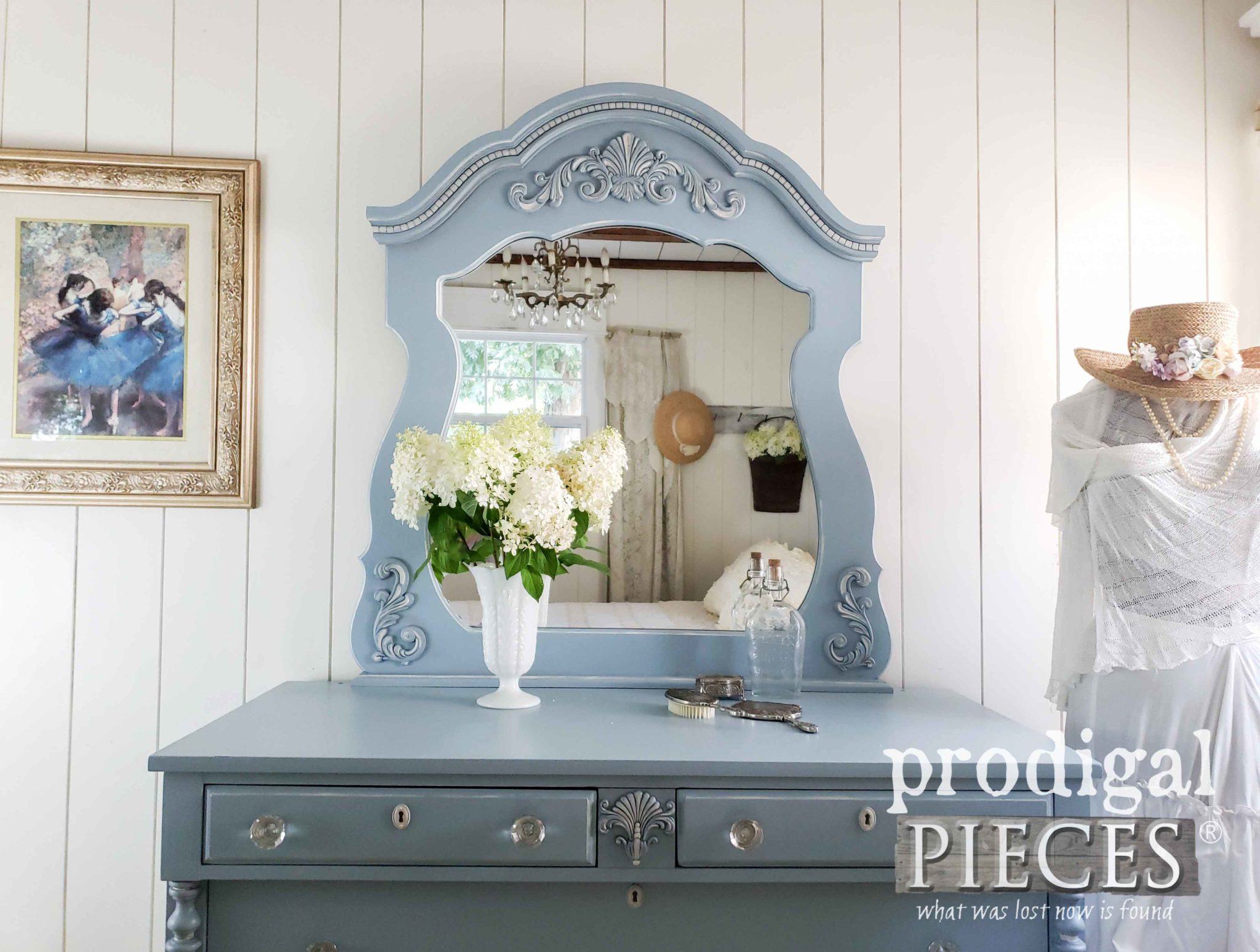 Gorgeous Blue Mirrored Dresser Set by Larissa of Prodigal Pieces | prodigalpieces.com