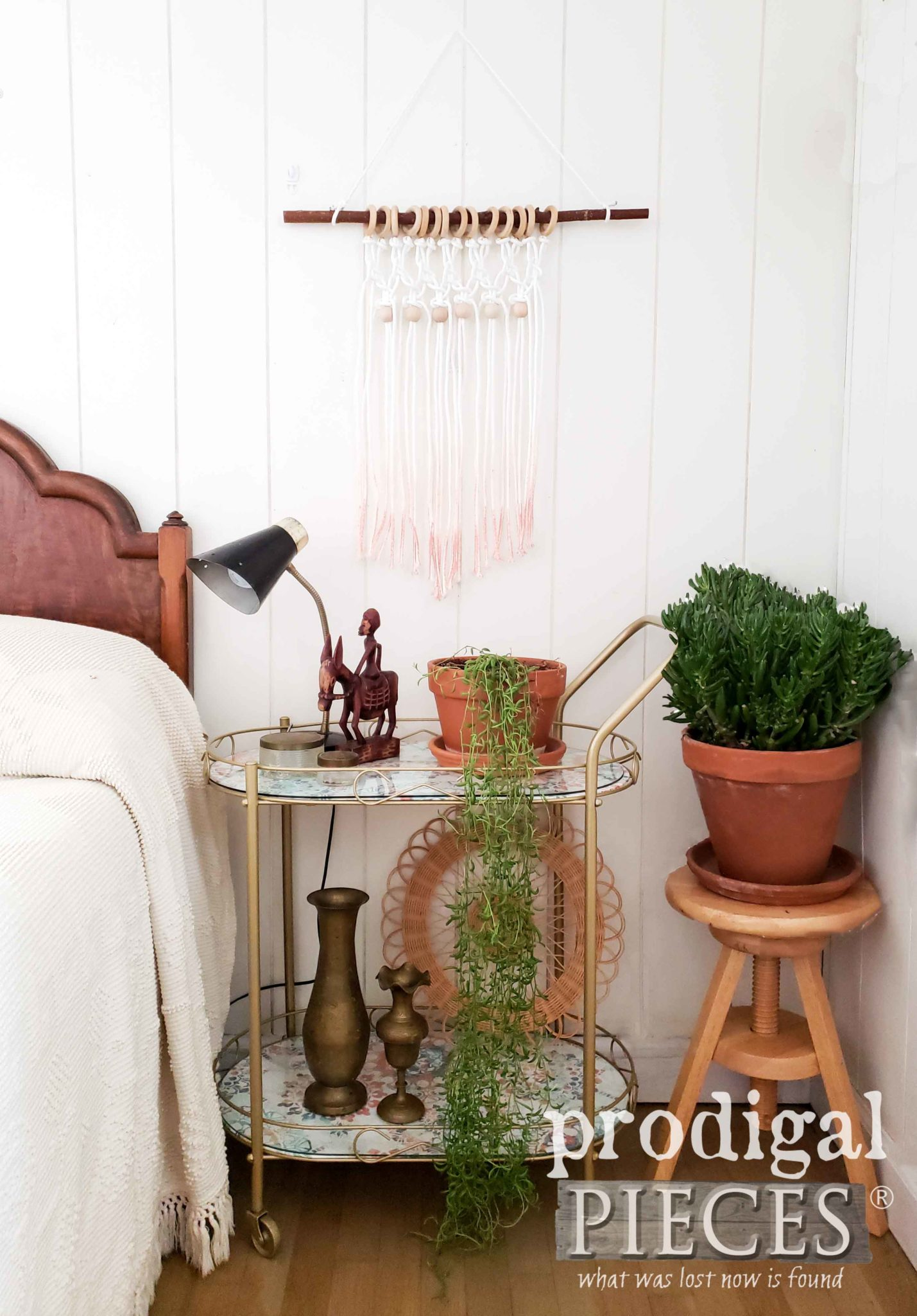 Boho Chic Bar Cart with DIY Ombre Macrame Wall Art Tutorial by Larissa of Prodigal Pieces | prodigalpieces.com