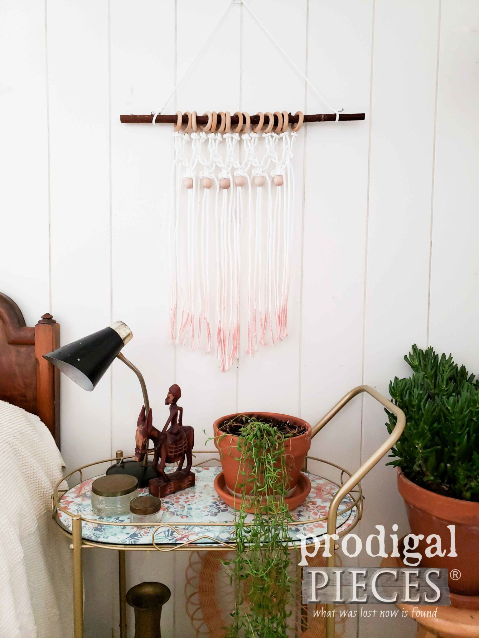 DIY Boho Chic Ombre Wall Art with Vintage Bar Cart by Larissa of Prodigal Pieces | prodigalpieces.com