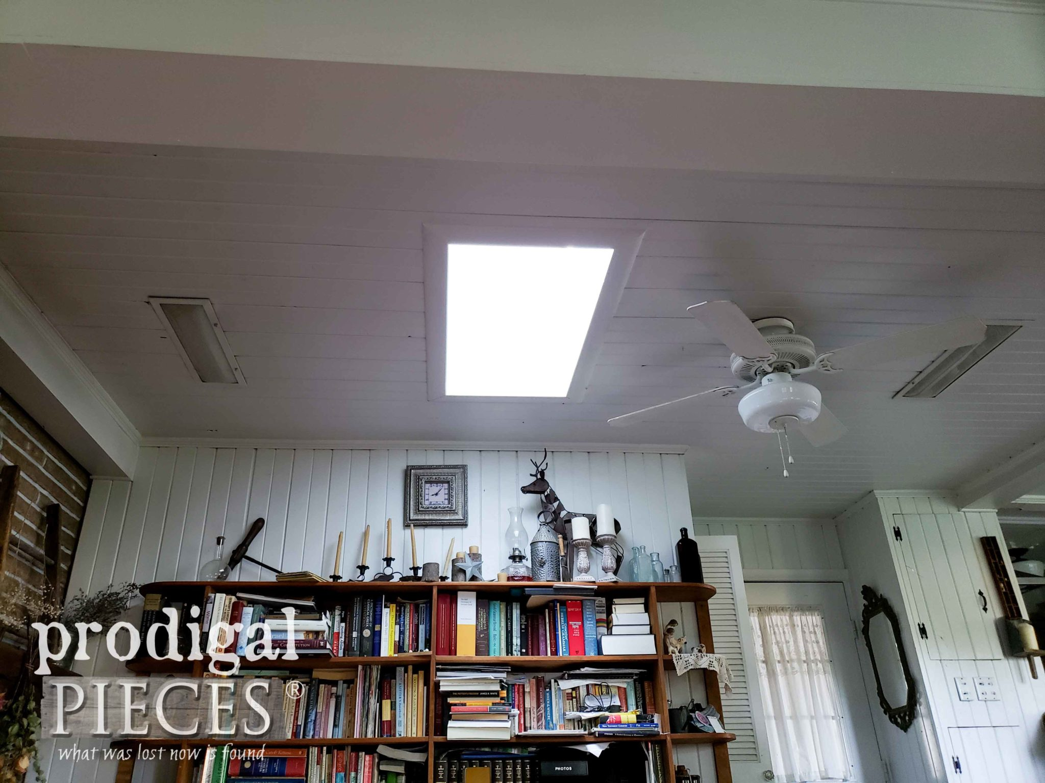 Family Room Ceiling with Skylight and Vintage Fixtures | prodigalpieces.com