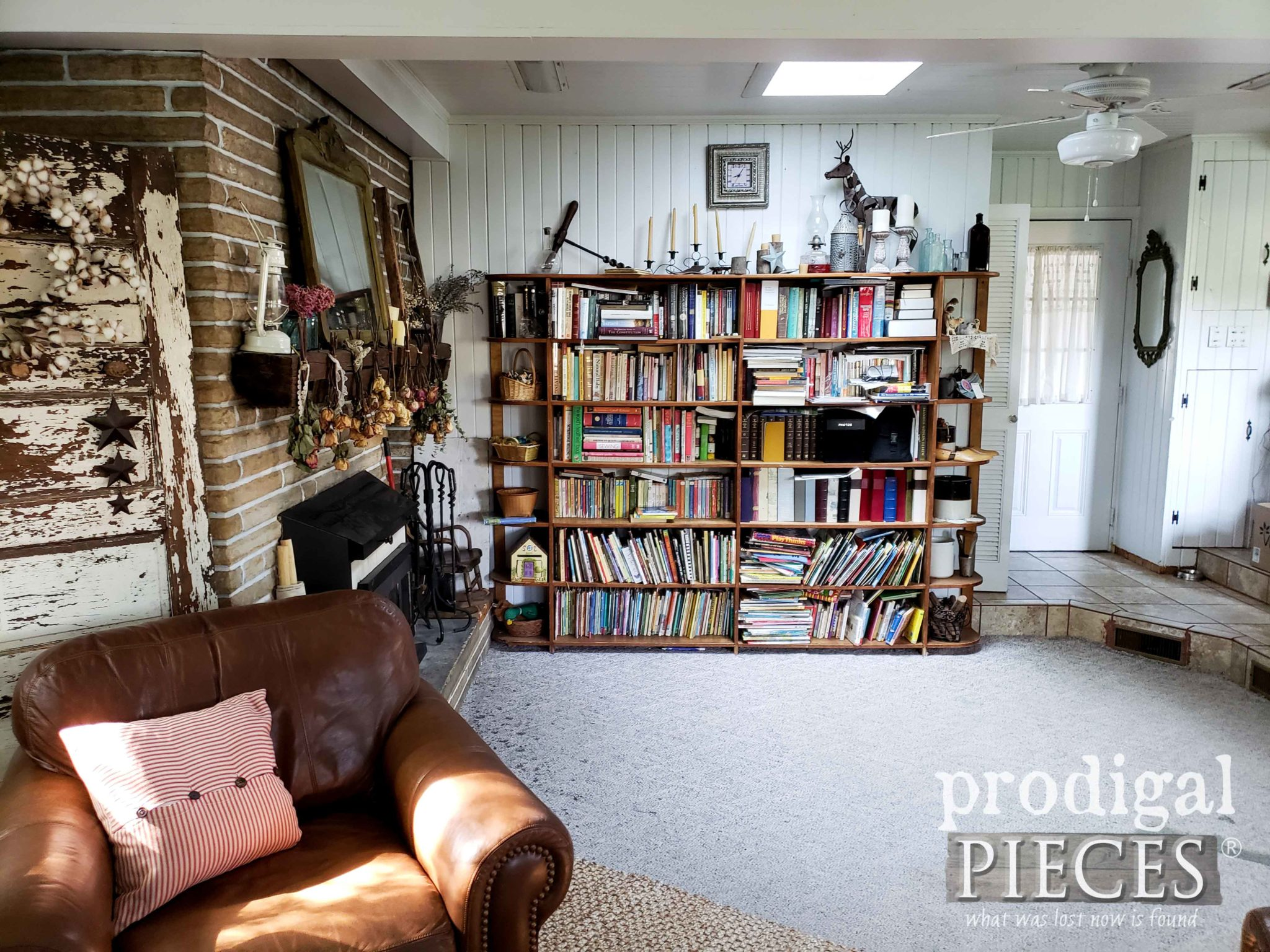 Built-In Bookshelves Before Family Room Remodel by Prodigal Pieces | prodigalpieces.com
