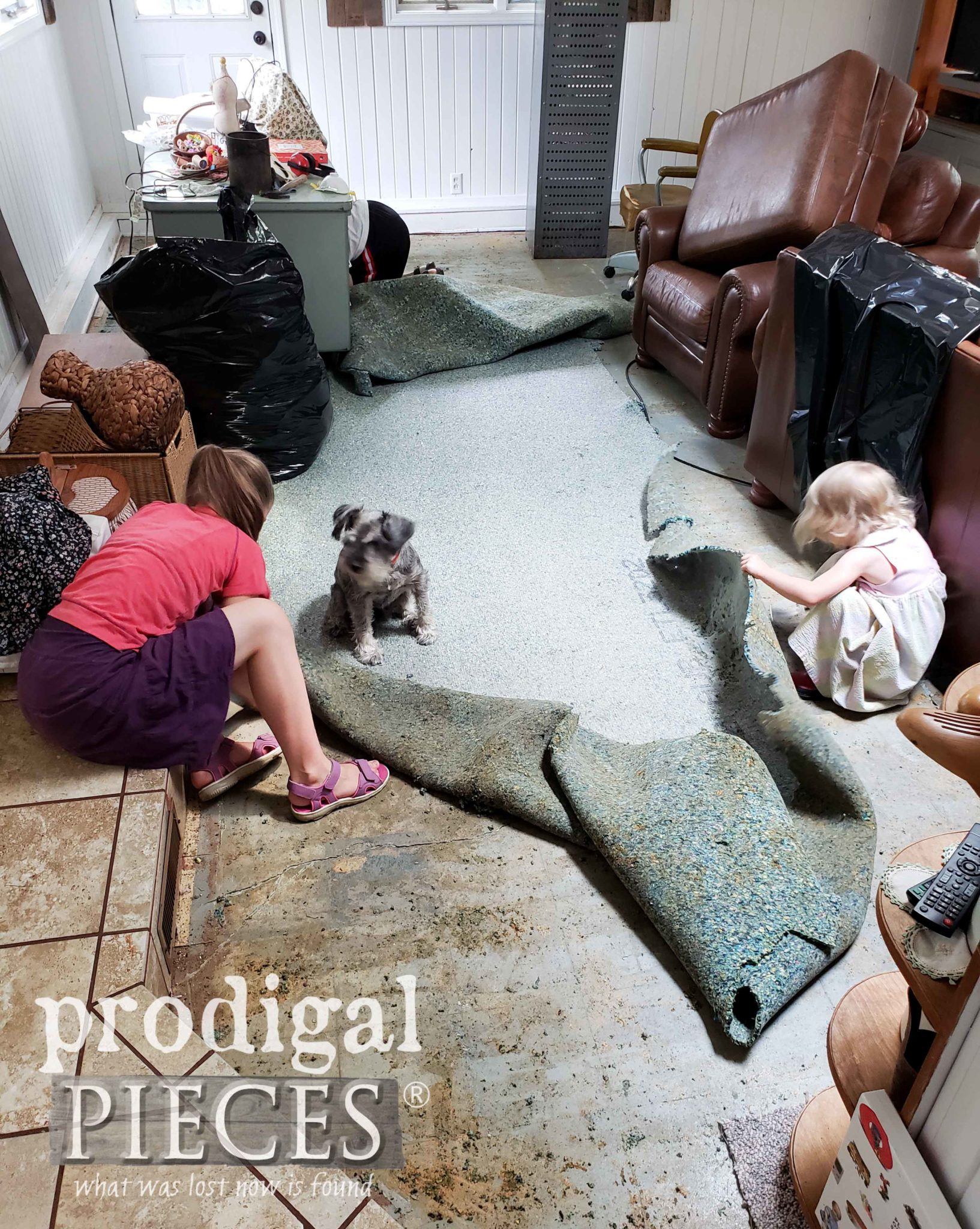 Carpet Padding Removal by Family of Prodigal Pieces | prodigalpieces.com