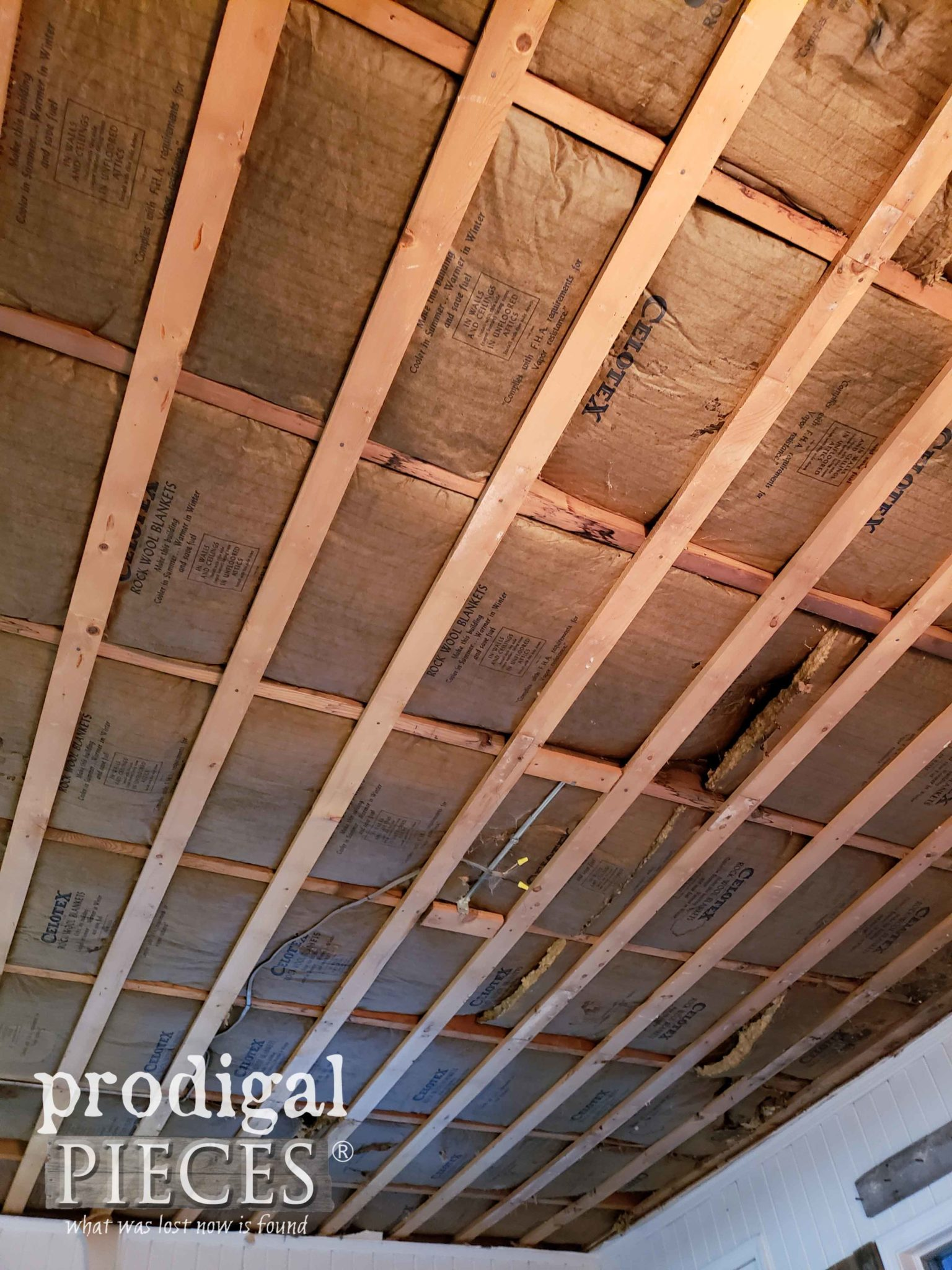 Demoed Ceiling with Grid Left for New Coffered Ceiling | prodigalpieces.com